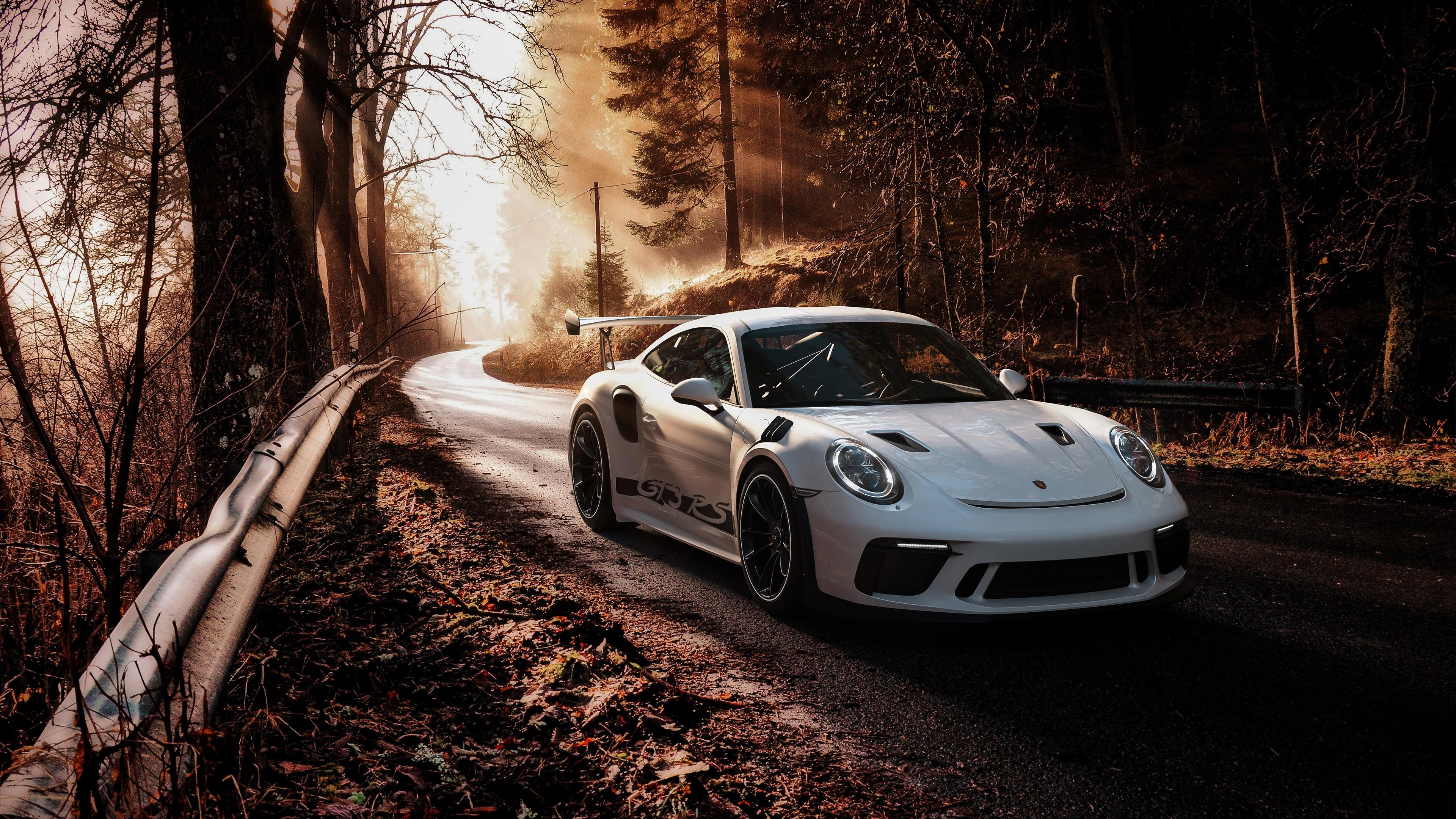 Photos Porsche 911 Gt3 Rs 2019 White Automobile 3840x2160