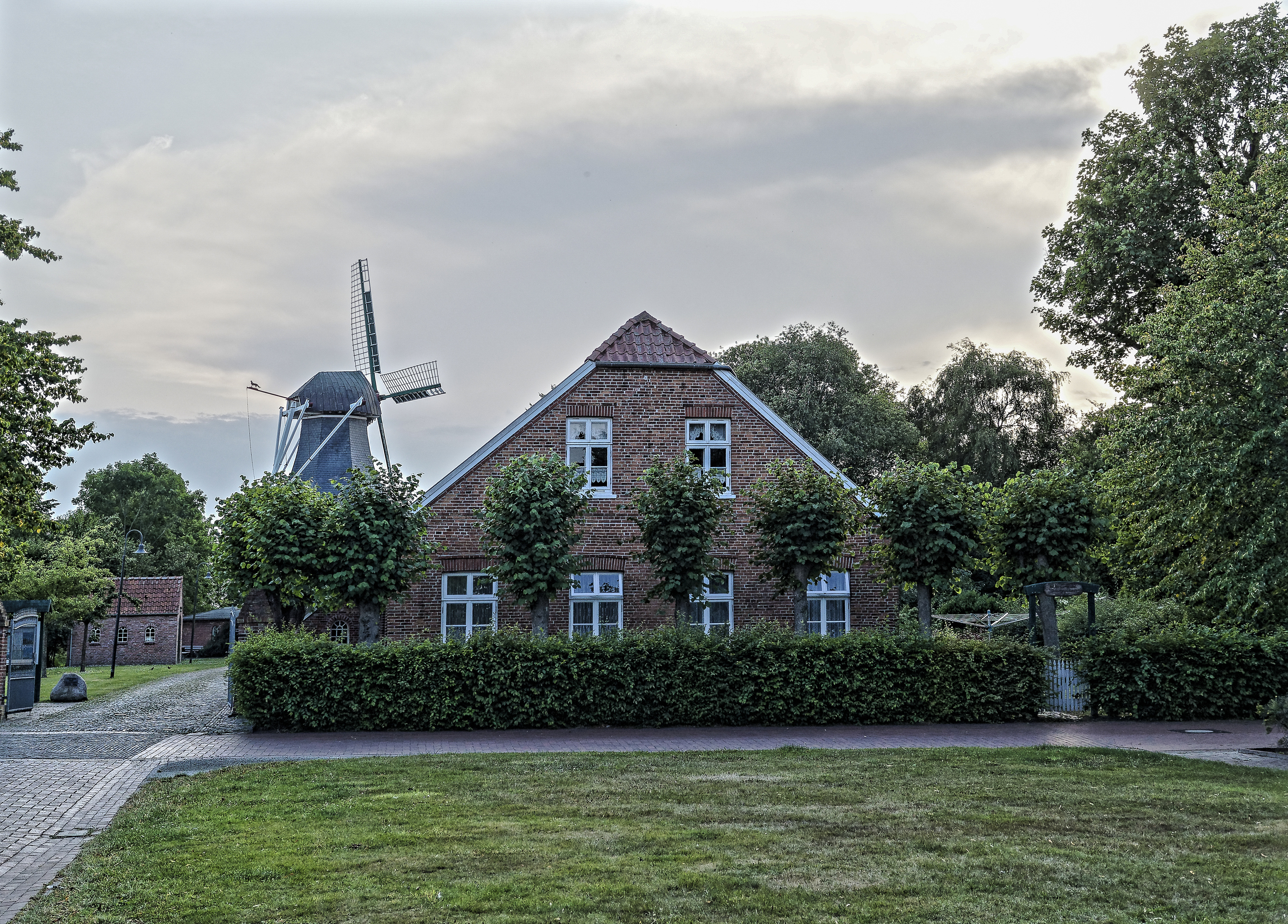 Images Germany windmills Leezdorf Mansion Lawn Cities Shrubs Building 3105x2230 Mill windmill Bush Houses