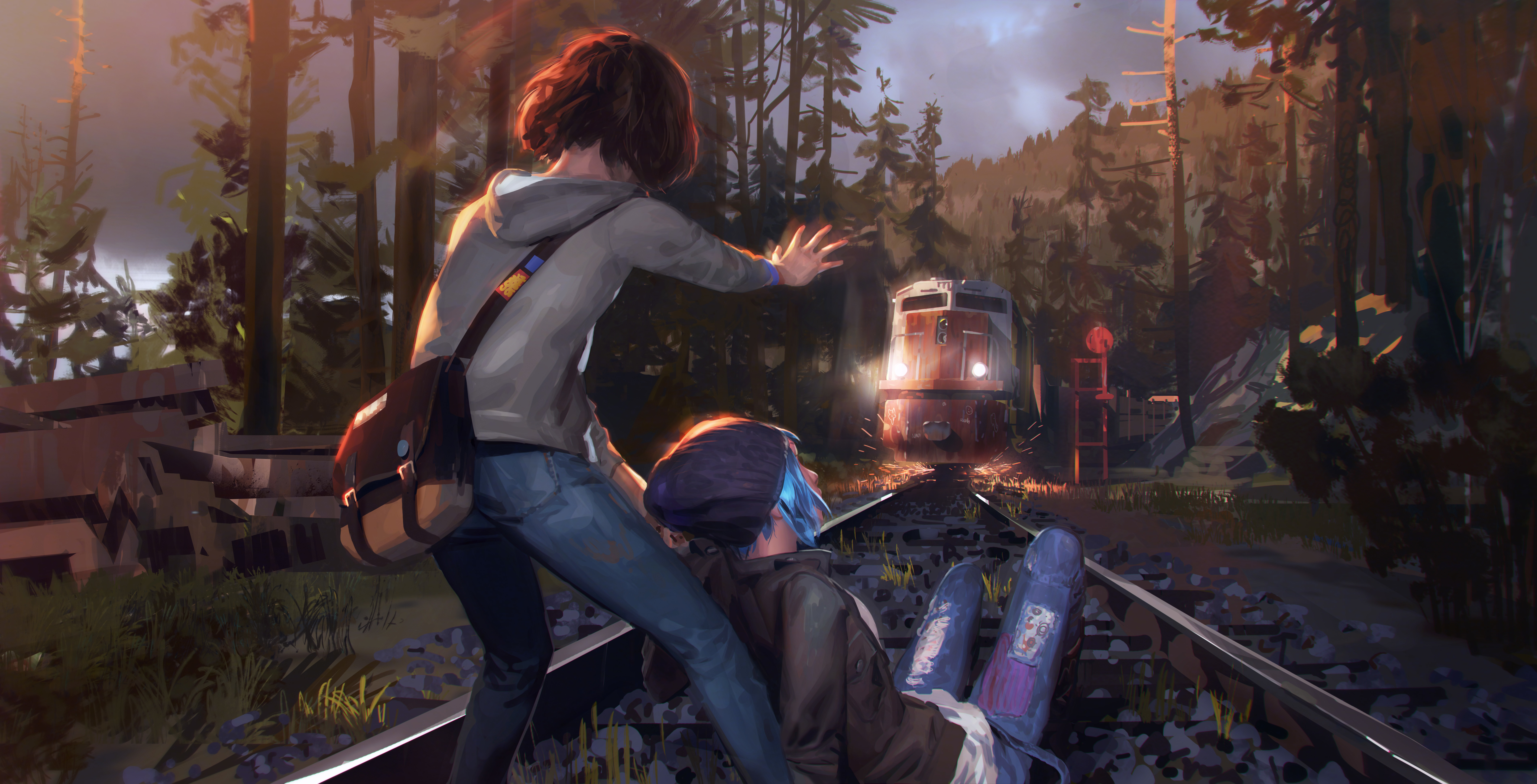 Pictures Little Girls Locomotive Life Is Strange 2 Trains 8500x4338