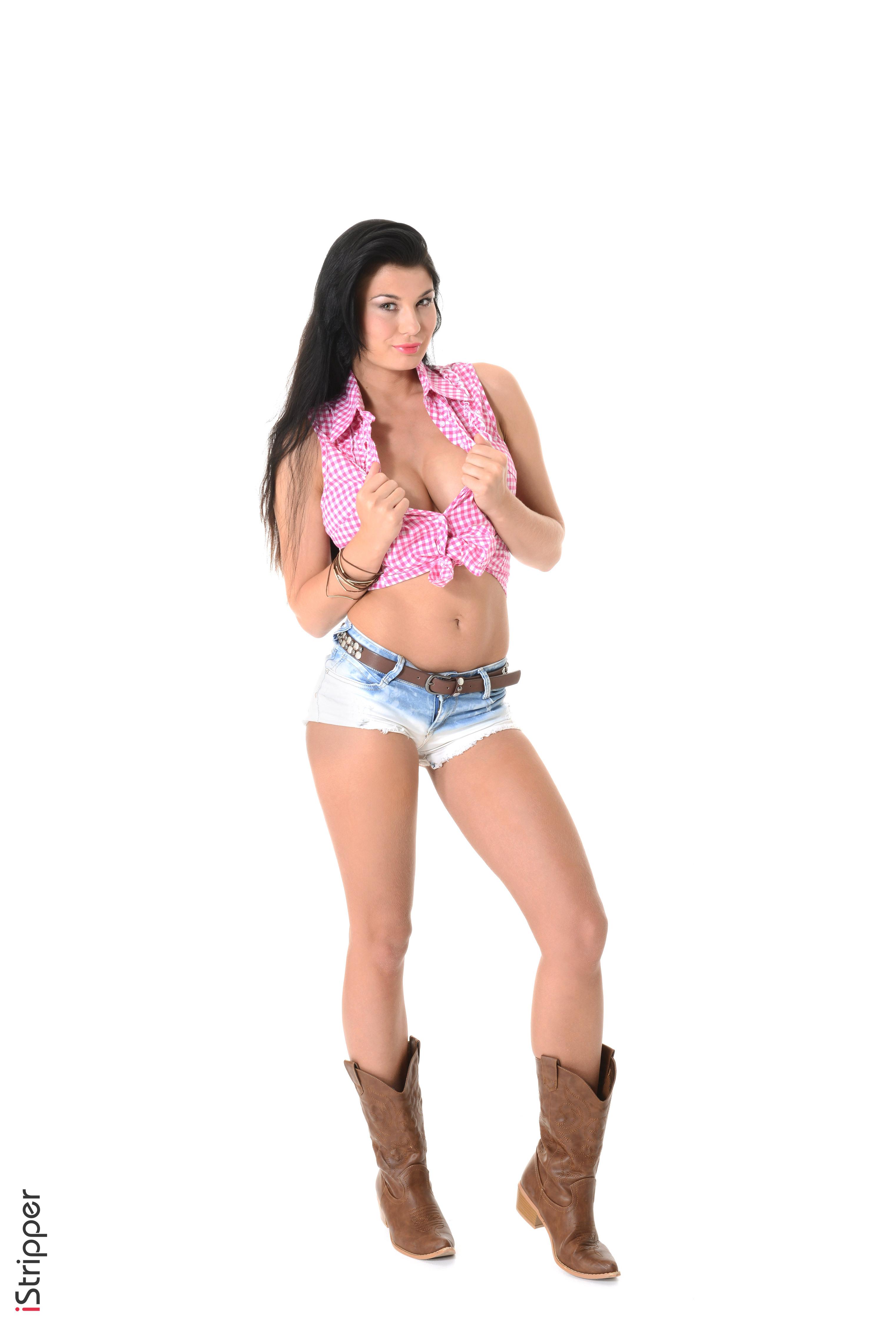 3003x4500,Lucy Li,iStripper,白色背景,黑发,手,腹,短裤,腿,靴,年輕女性,女孩,