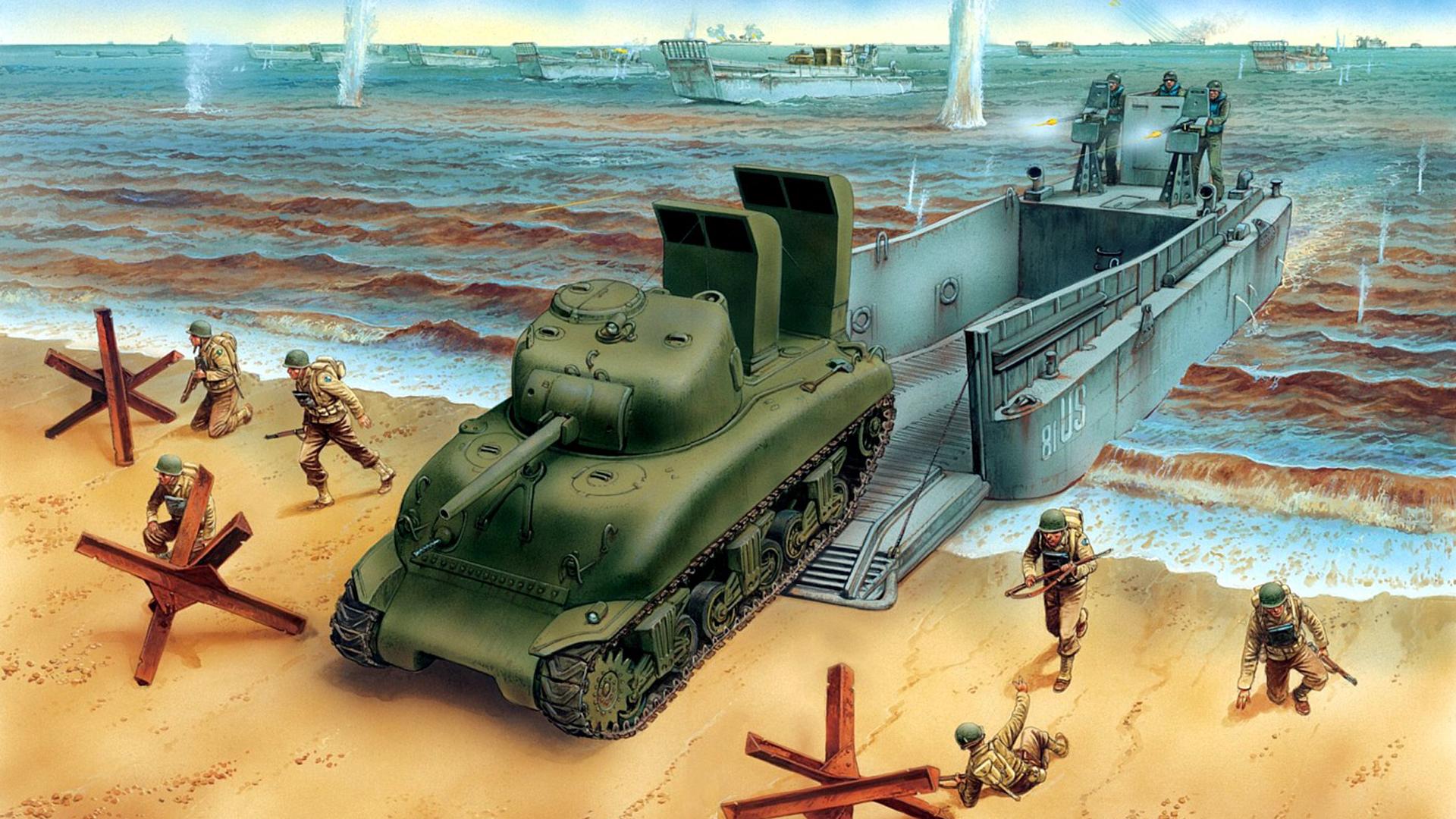 Photos military tank M4A1, Sherman Painting Art M4 Sherman