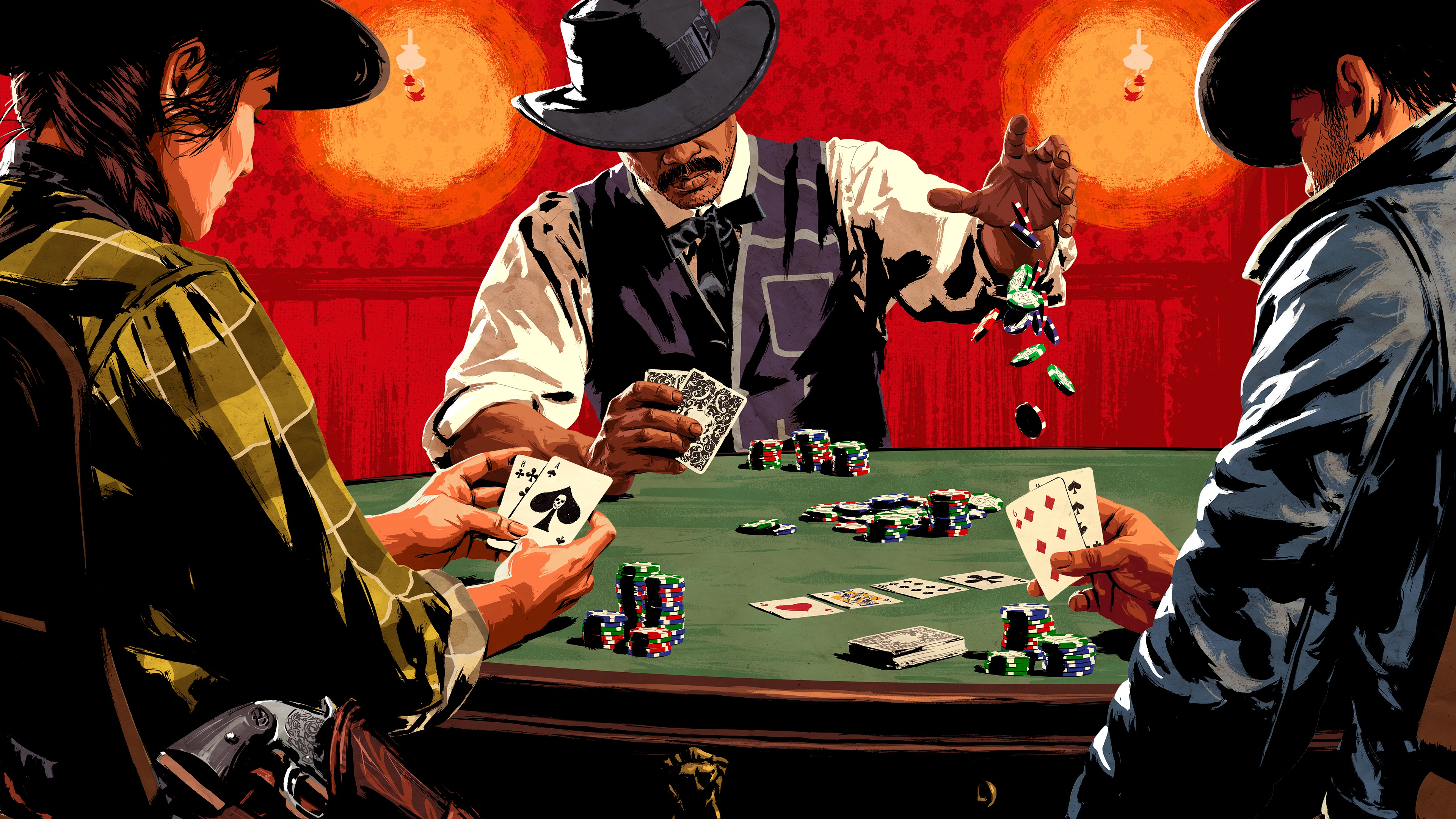 Wallpaper Red Dead Redemption 2 Poker Hat Vdeo Game Table 3840x2160