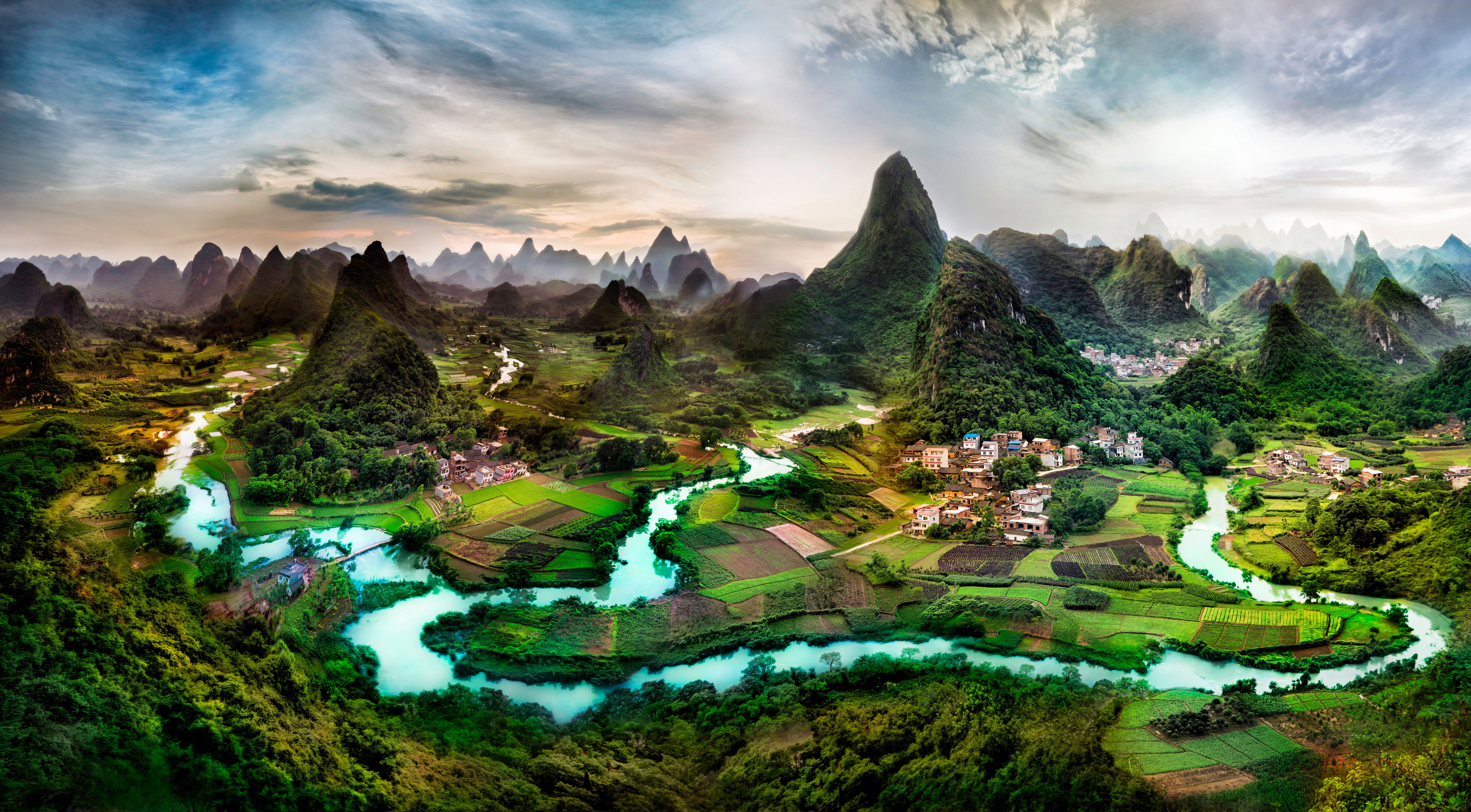 Fotos von China Guangxi Province Natur Felsen Acker Flusse Gebäude 6520x3600 Felder Fluss Haus