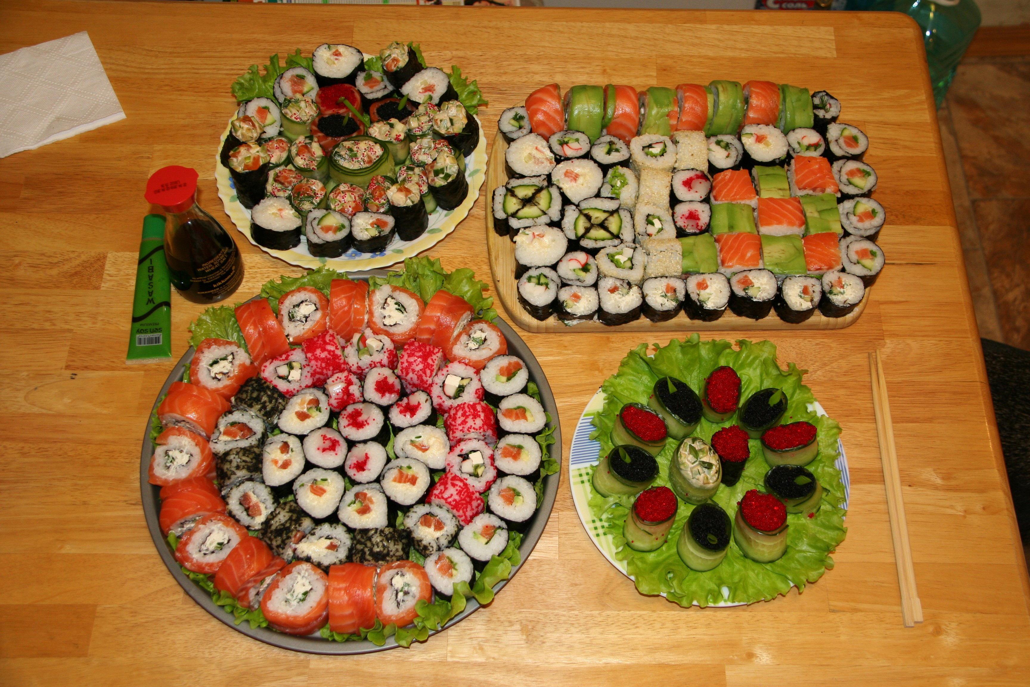 Fotos von Rogen Sushi Lebensmittel Viel 3456x2304 Kaviar Caviar das Essen