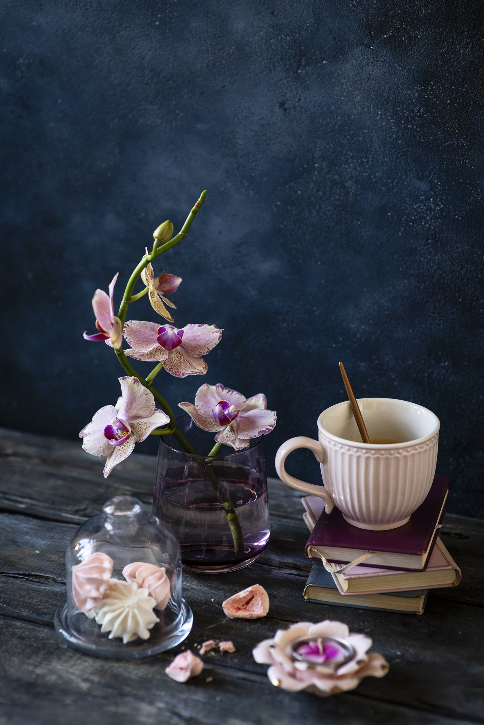 Photos orchids flower Cup Book Food Candles Sweets Still-life Wood planks  for Mobile phone Orchid Flowers books confectionery boards