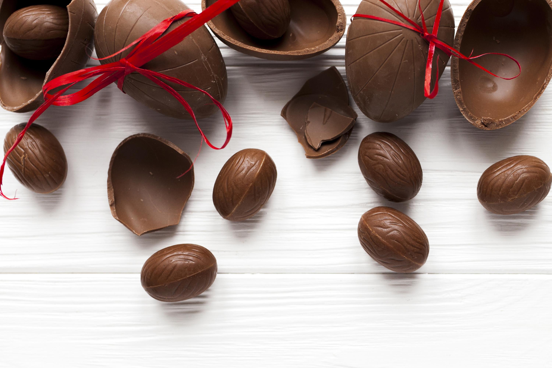 Bilder von Ostern eier Schokolade Schleife das Essen 3000x2000 Ei Lebensmittel