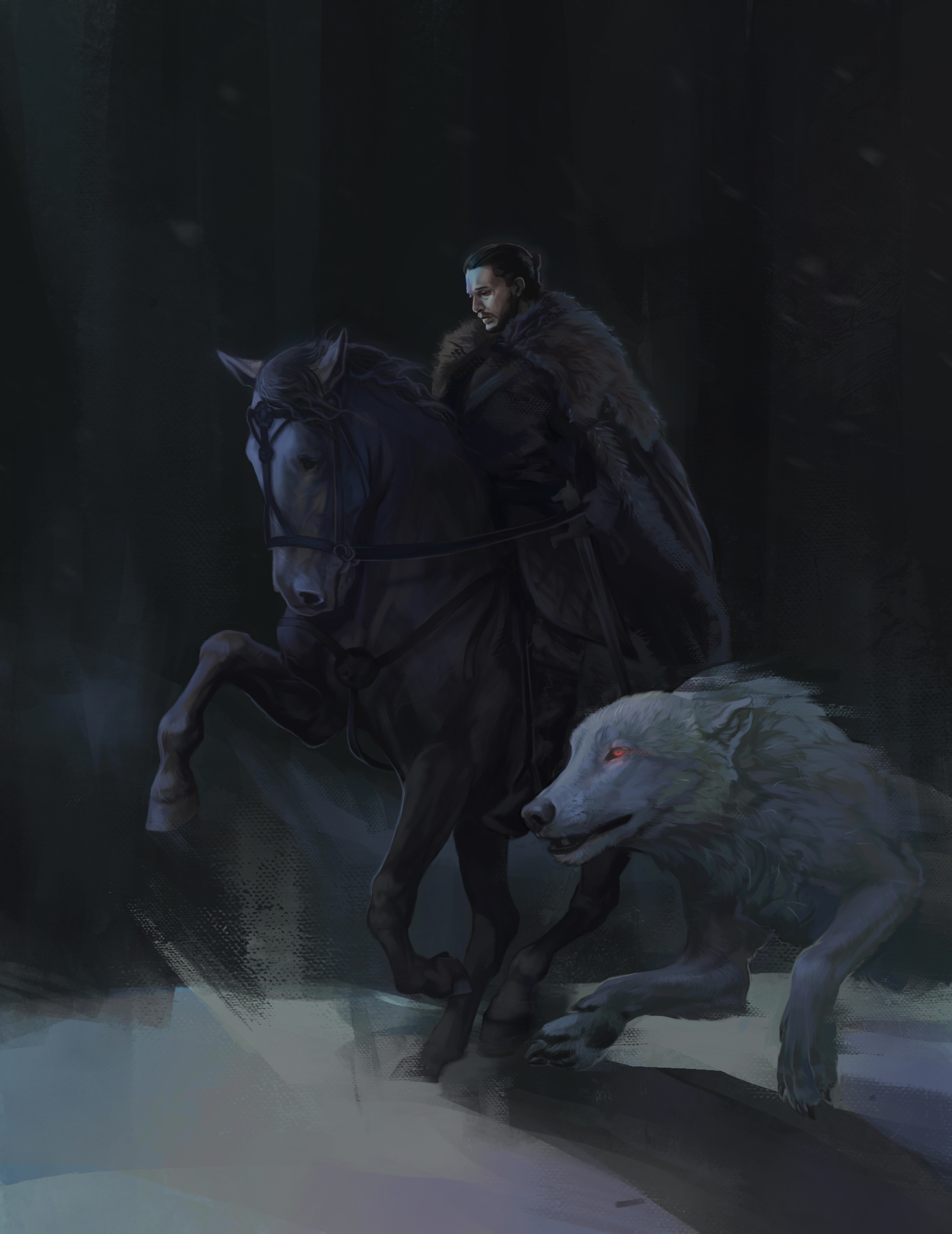 Wallpaper Game Of Thrones Wolves Horses Jon Snow Movies 2293x2974