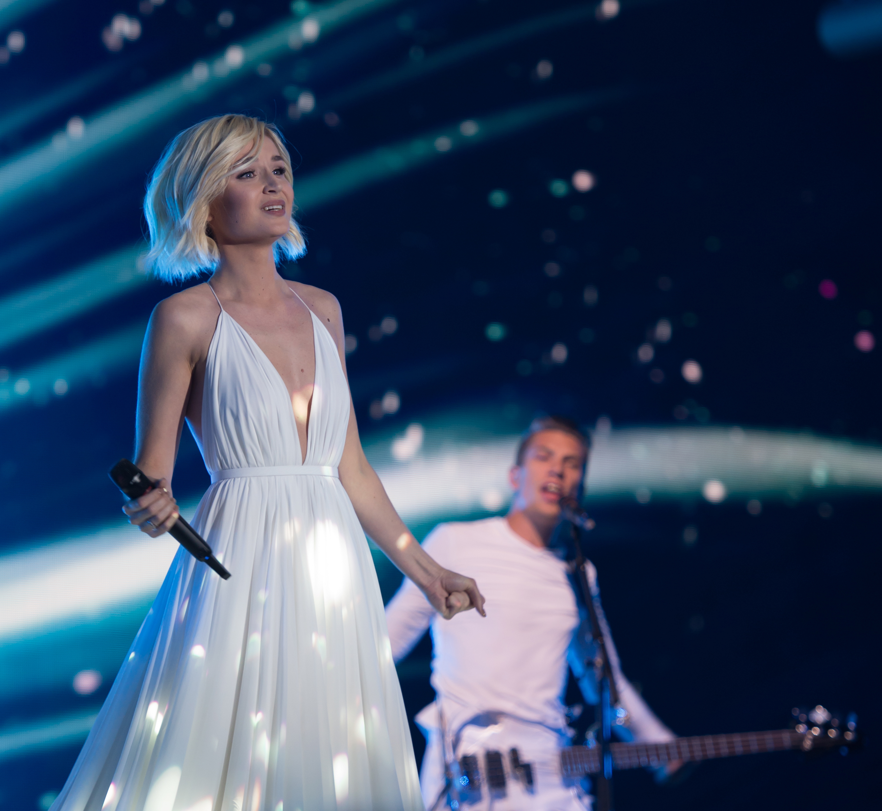 Pictures Polina Gagarina Blonde girl Eurovision 2015 Girls Music Celebrities frock female young woman gown Dress