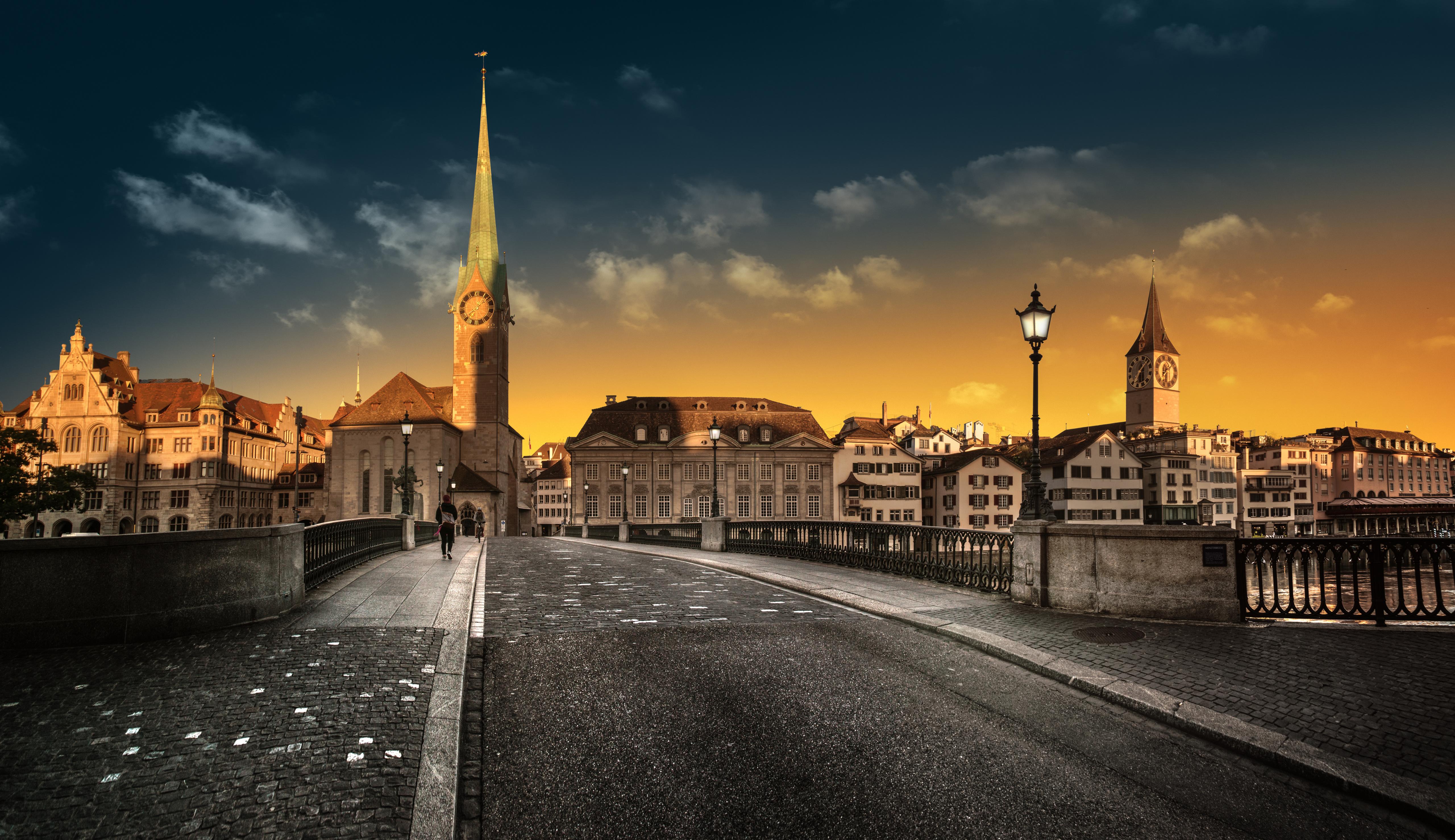 Photo Zurich Church Switzerland Bridges Street lights Houses Cities 5120x2957 bridge Building