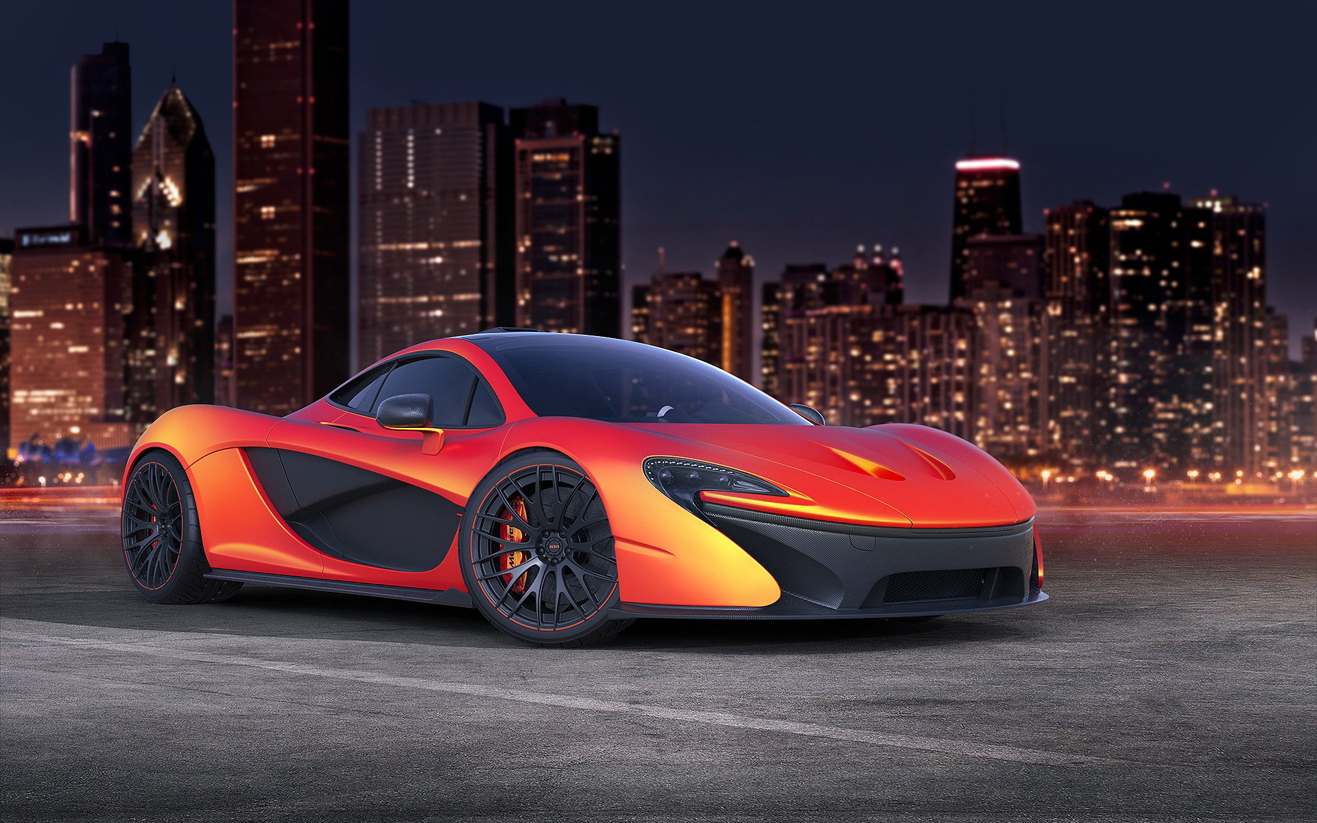 image mclaren p1 orange cars skyscrapers cities 1920x1200