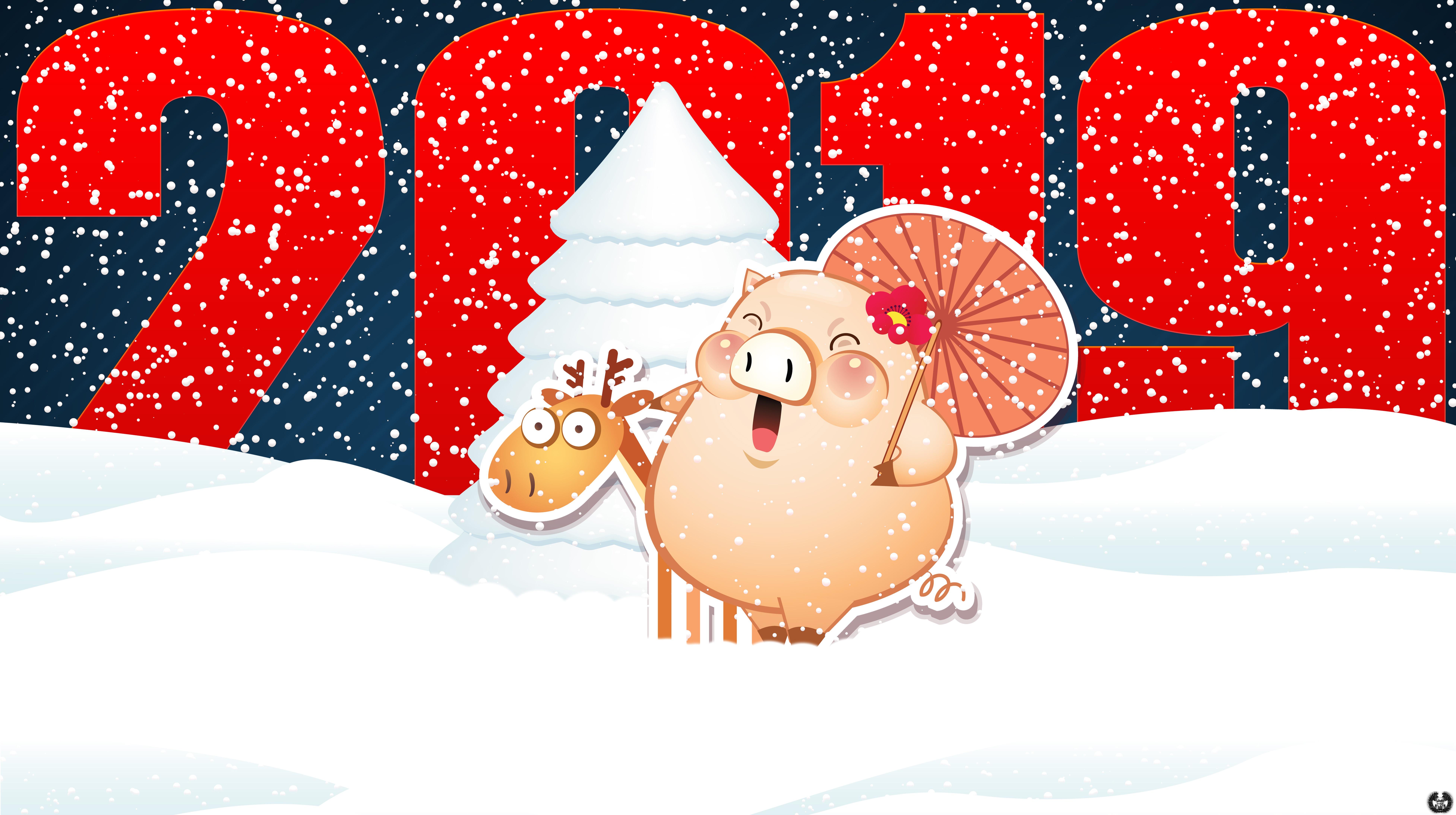 Новогодние Обои Для Рабочего Стола Год Свиньи