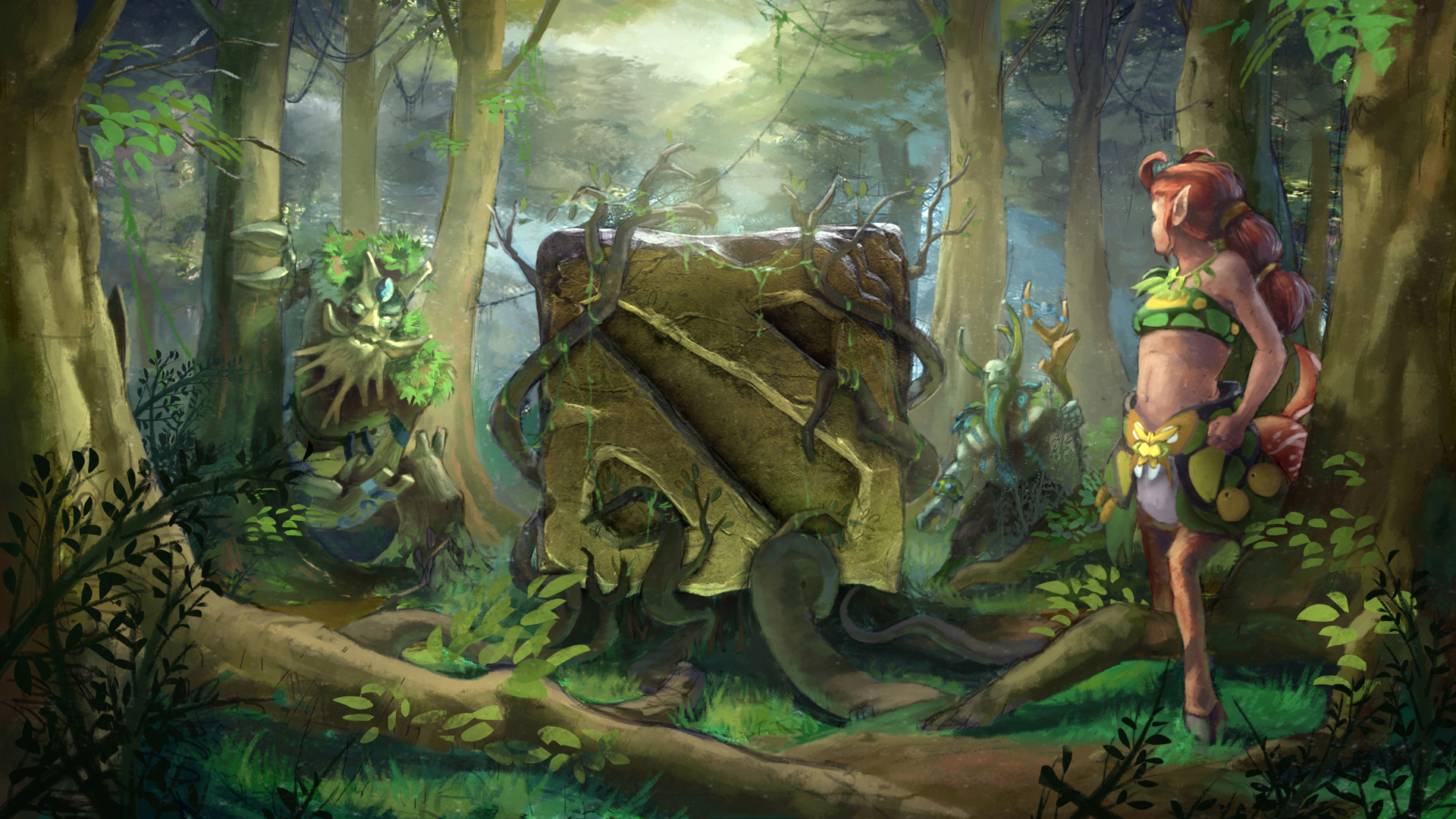 Images DOTA 2 Enchantress Treant Protector Nature's 1920x1080
