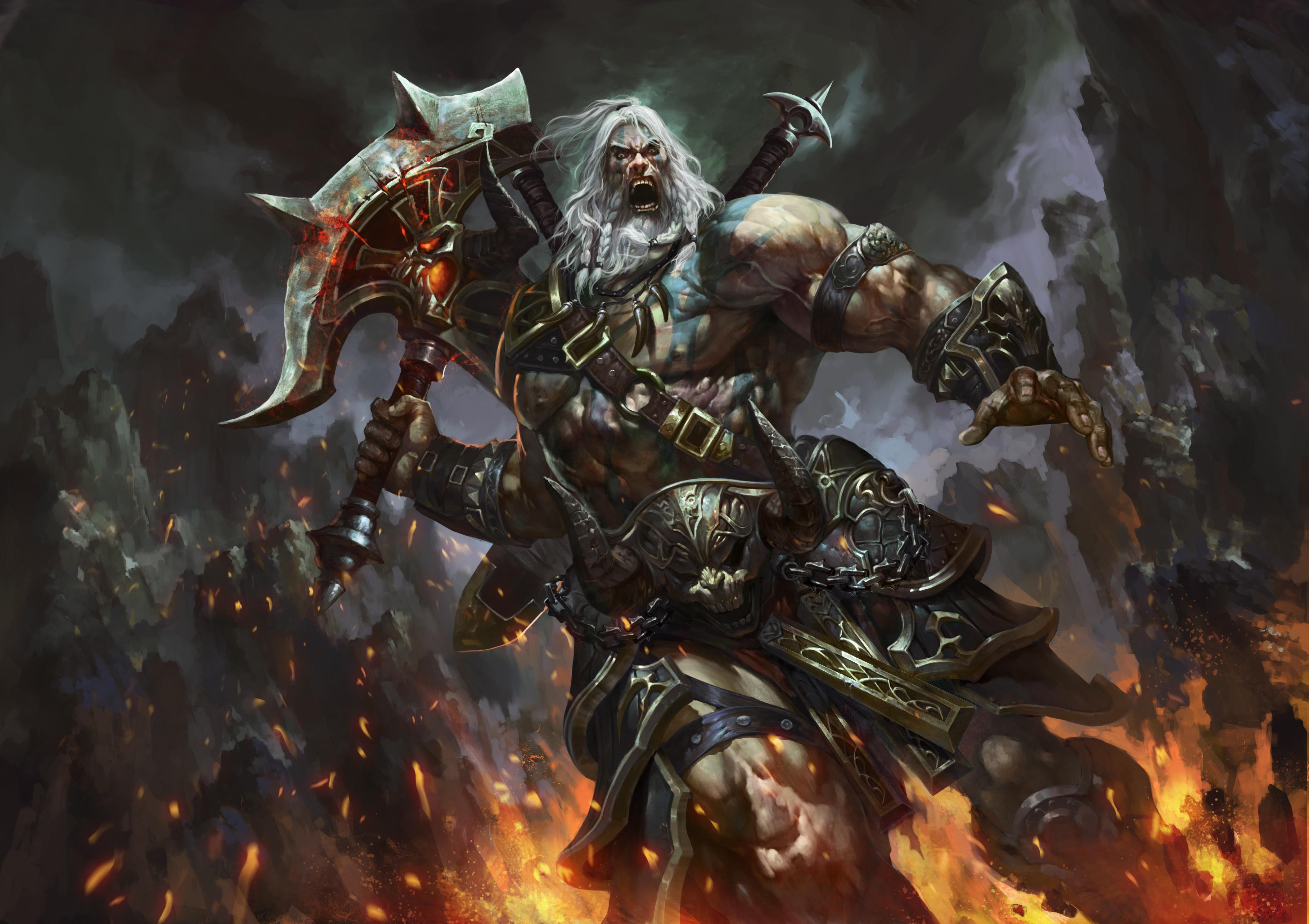3636x2567 Guerrier Diablo III Barbarian Hache de guerre Armure Diablo 3 Jeux Fantasy