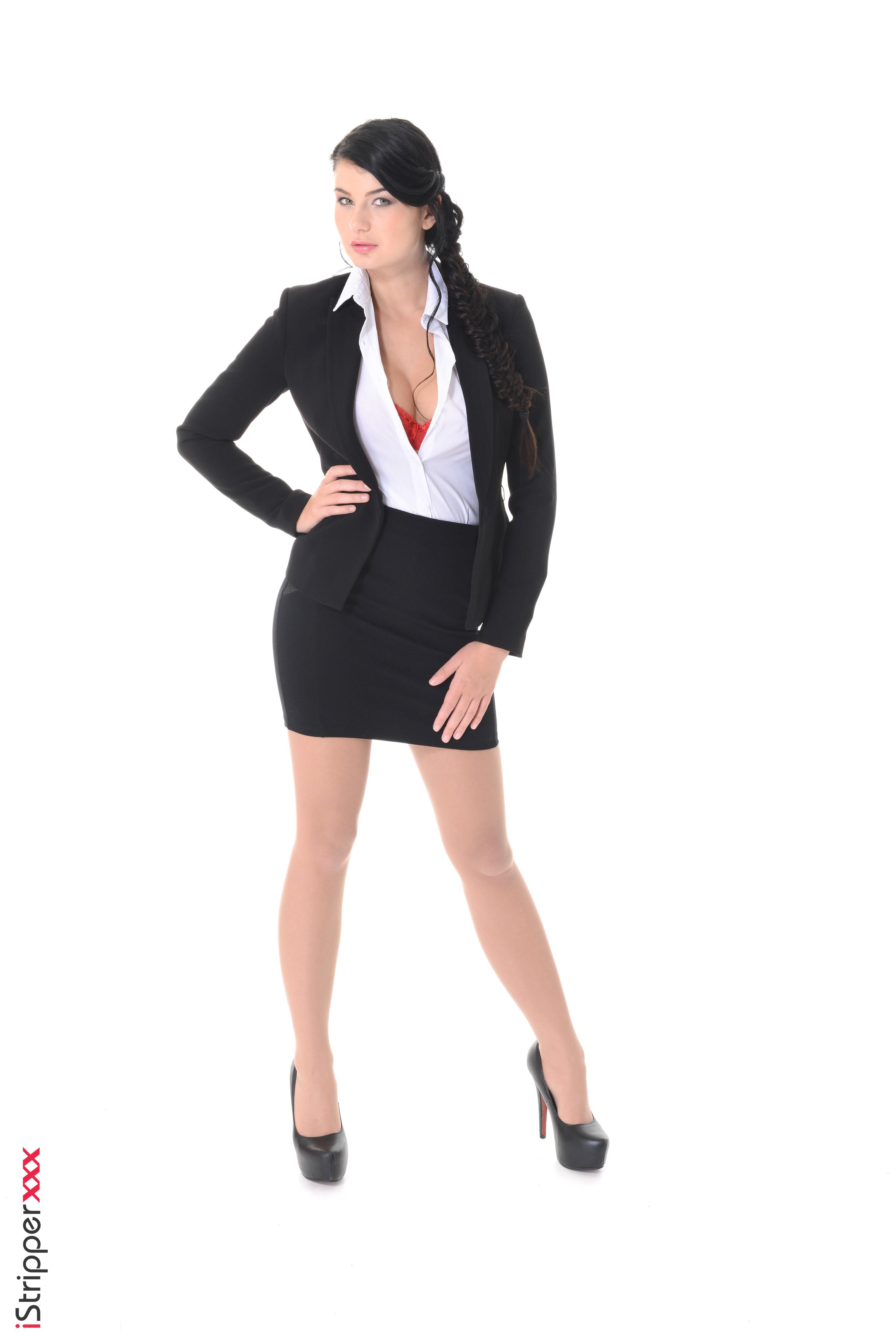 3003x4500,Lucy Li,iStripper,白色背景,黑发,西裝,手,裙,腿,皮鞋,年輕女性,女孩,