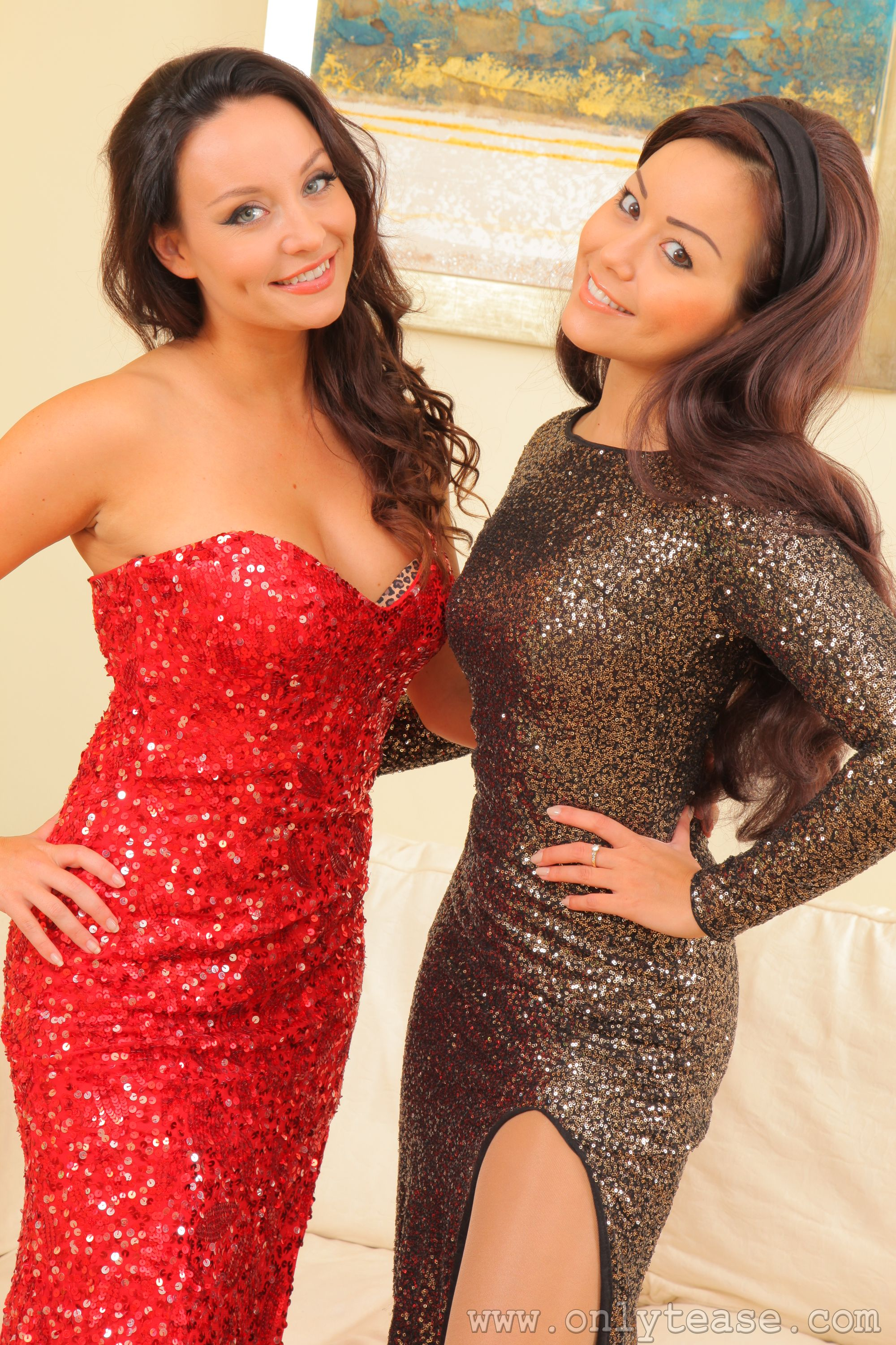 Images Petra So Carla Brown Brown haired Smile Two Girls Hands Staring frock 2000x3000 for Mobile phone 2 female young woman Glance gown Dress