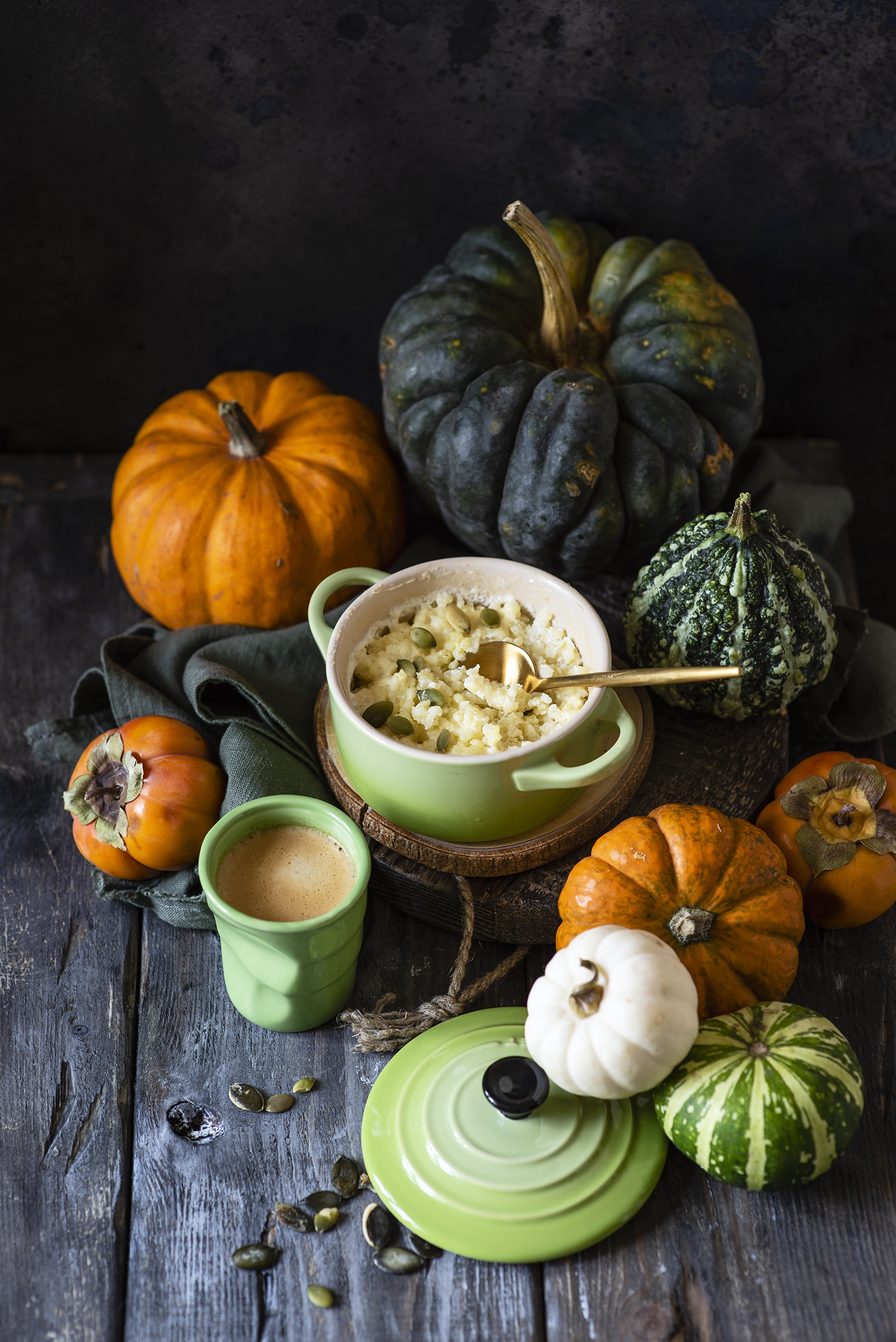 Pictures kaki Pumpkin Cappuccino Grain Highball glass Food Spoon Porridge Wood planks  for Mobile phone Persimmon boards