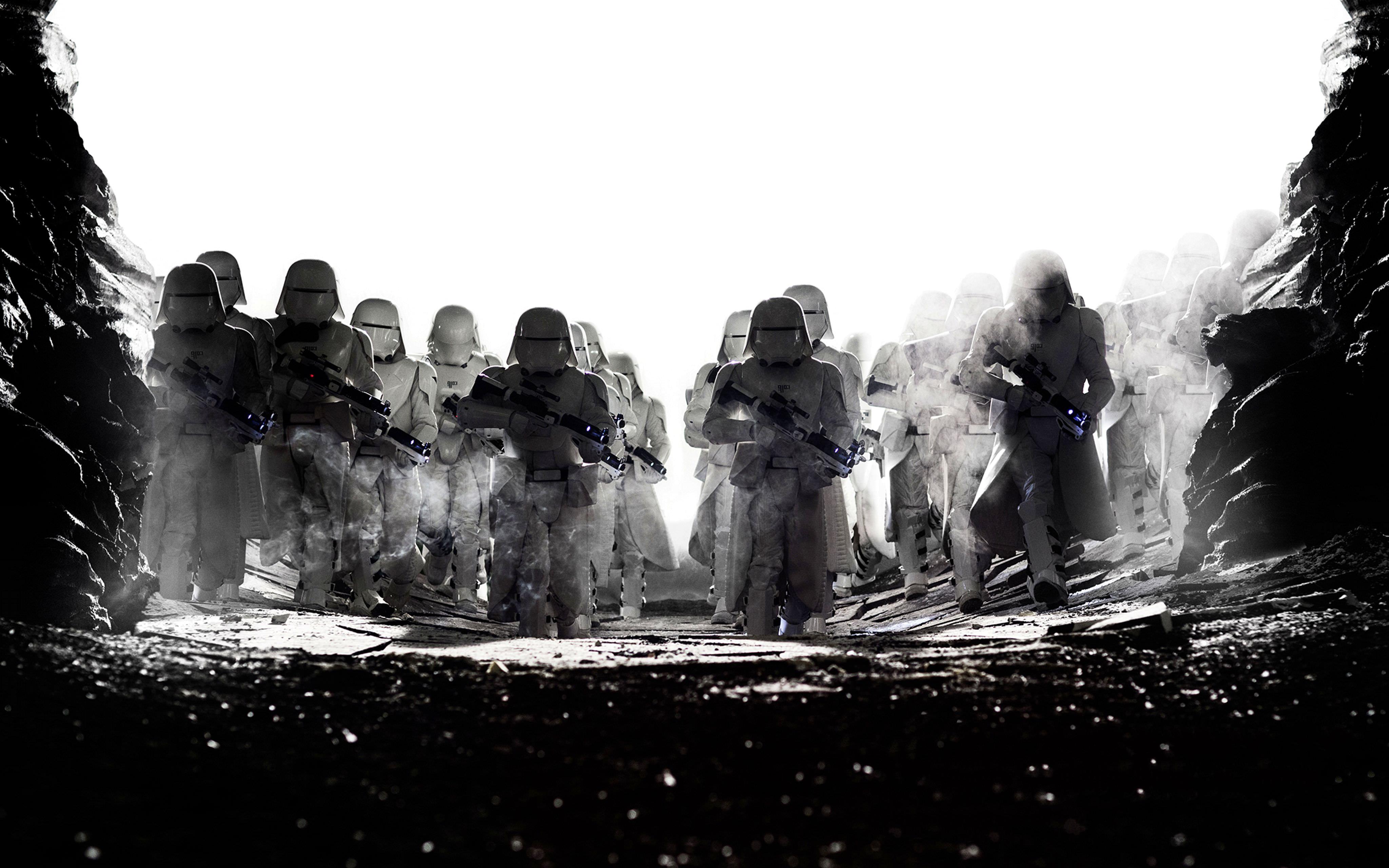 Wallpaper Star Wars: The Last Jedi Clone trooper film Black and white 4096x2560 Movies