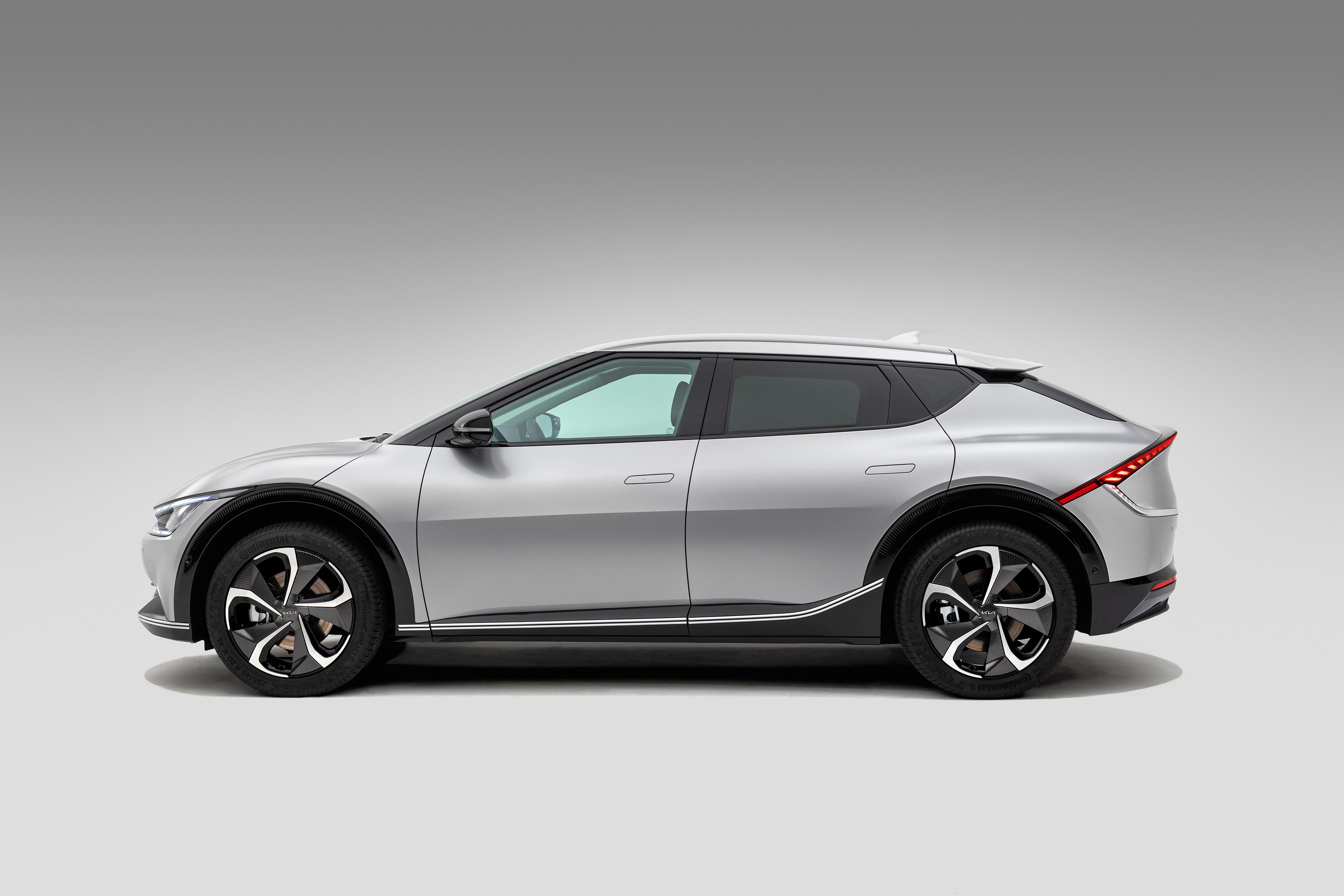 Bilder von KIA EV6, (Worldwide), 2021 Grau Autos Seitlich Metallisch 3600x2400 graue graues auto automobil