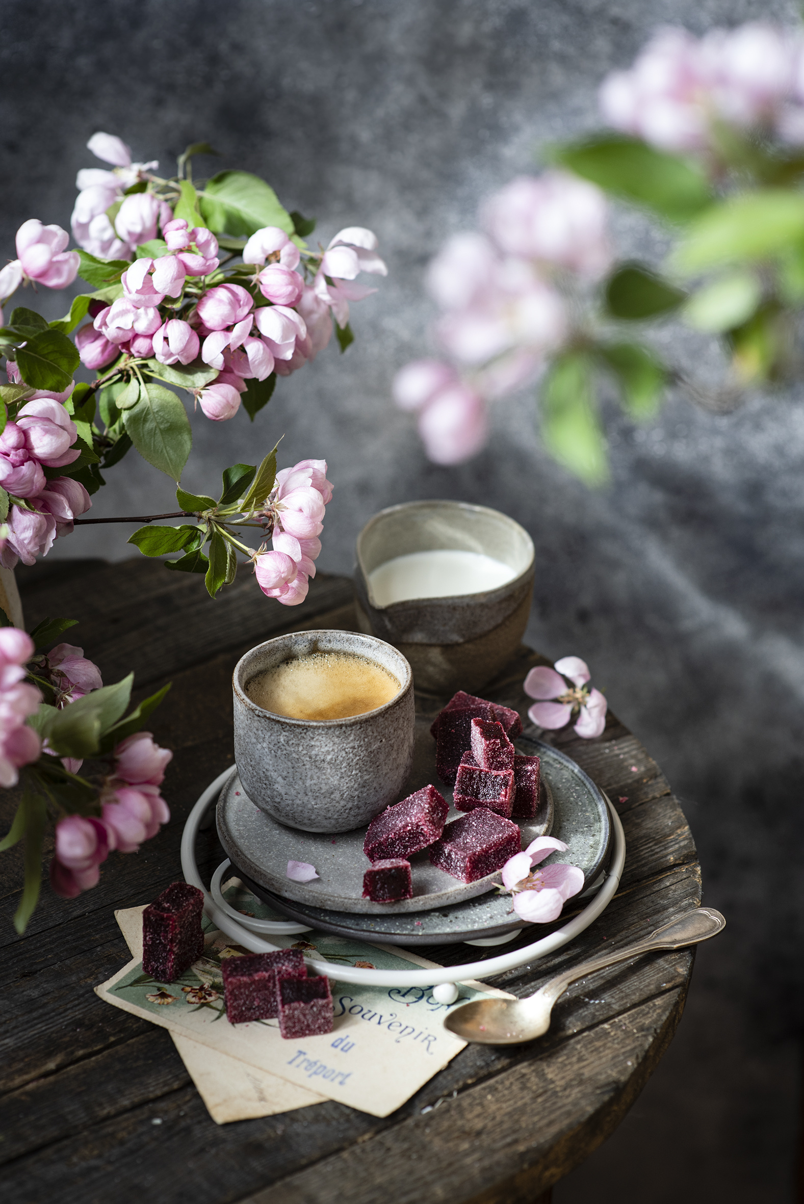 Picture Milk Coffee Marmalade Cappuccino Mug Food Branches Flowering trees  for Mobile phone