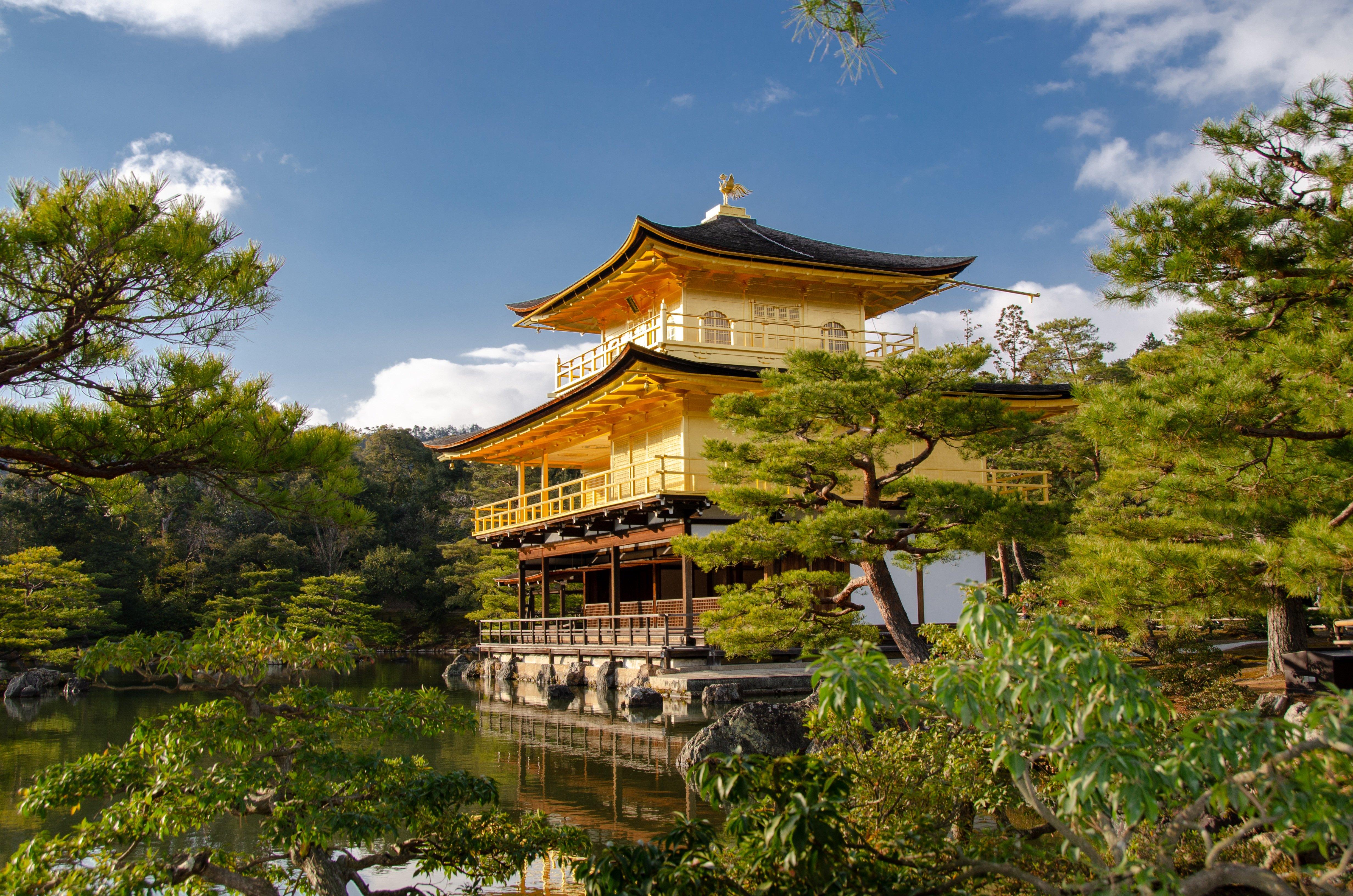 Wallpaper Kyoto Japan Kinkaku-JI Gardens temple Cities 4928x3264 Temples