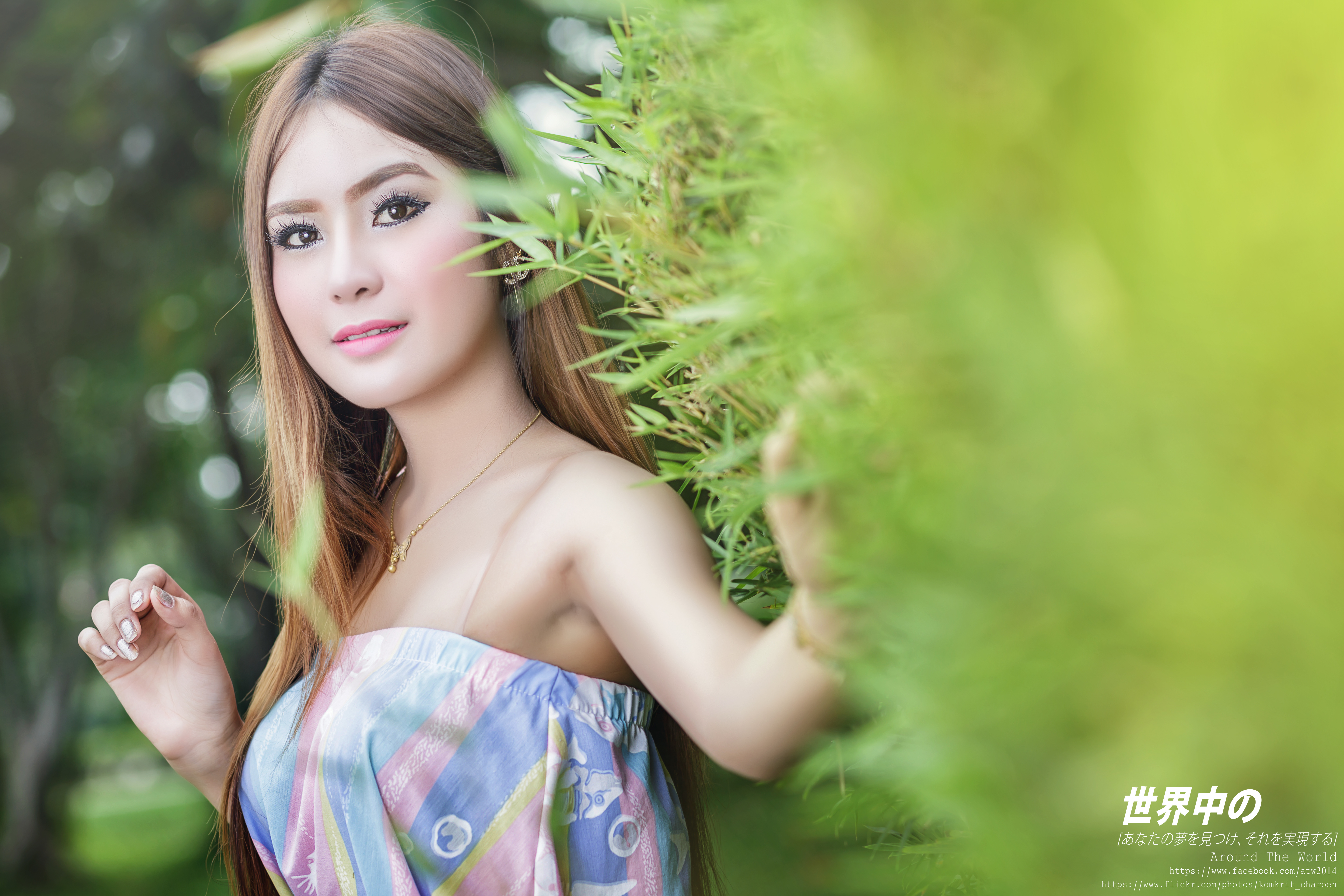 Pictures Brown haired blurred background female Asian Glance Bokeh Girls young woman Asiatic Staring