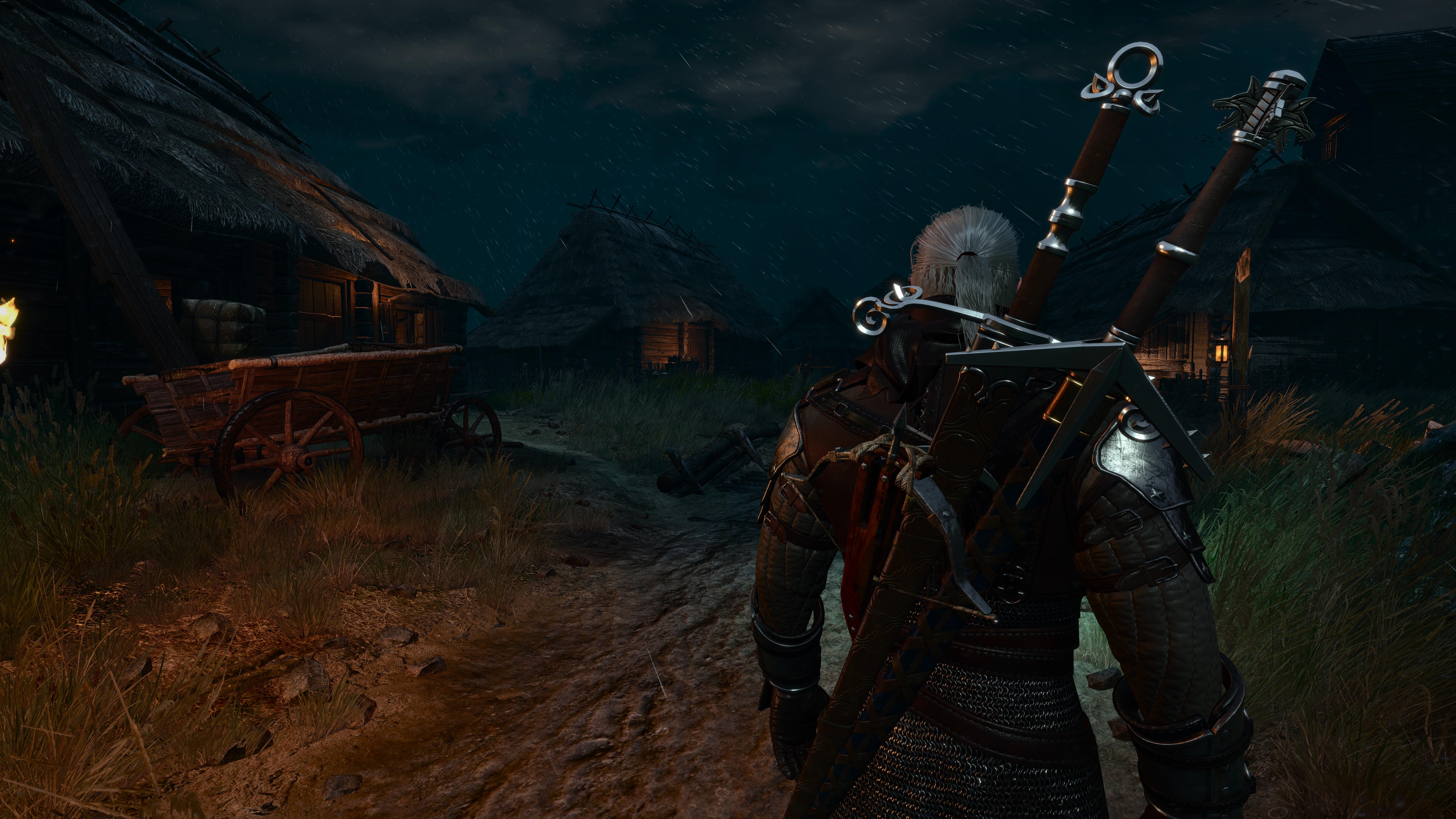 9600x5400、ウォリアーズ、魔法剣士ゲラルト、The Witcher 3: Wild Hunt、剣、の背面図、夜、村、��ンピュータゲーム、ゲーム、3Dグラフィックス、