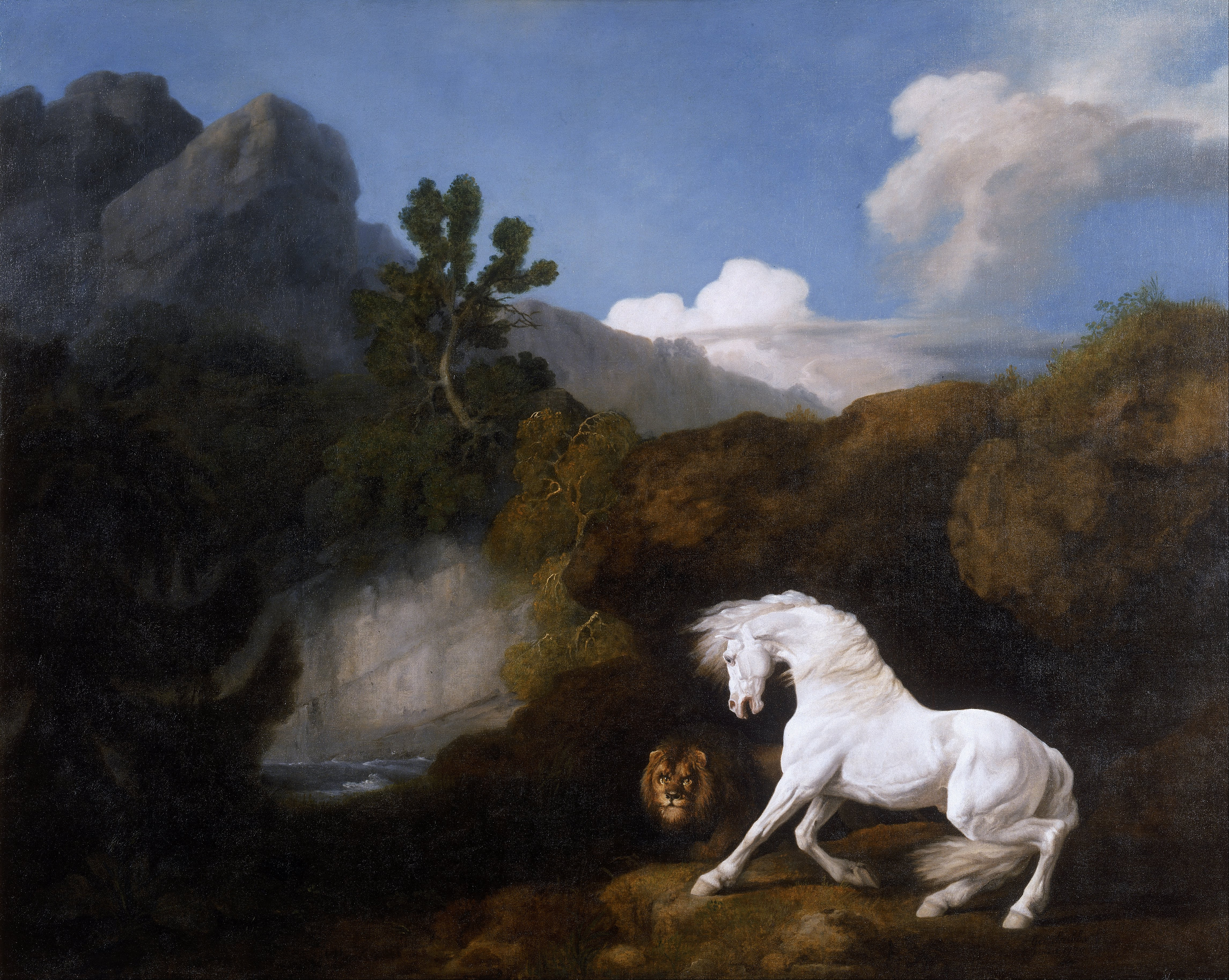 Desktop Wallpapers Horse George Stubbs A Horse Frightened 4582x3654