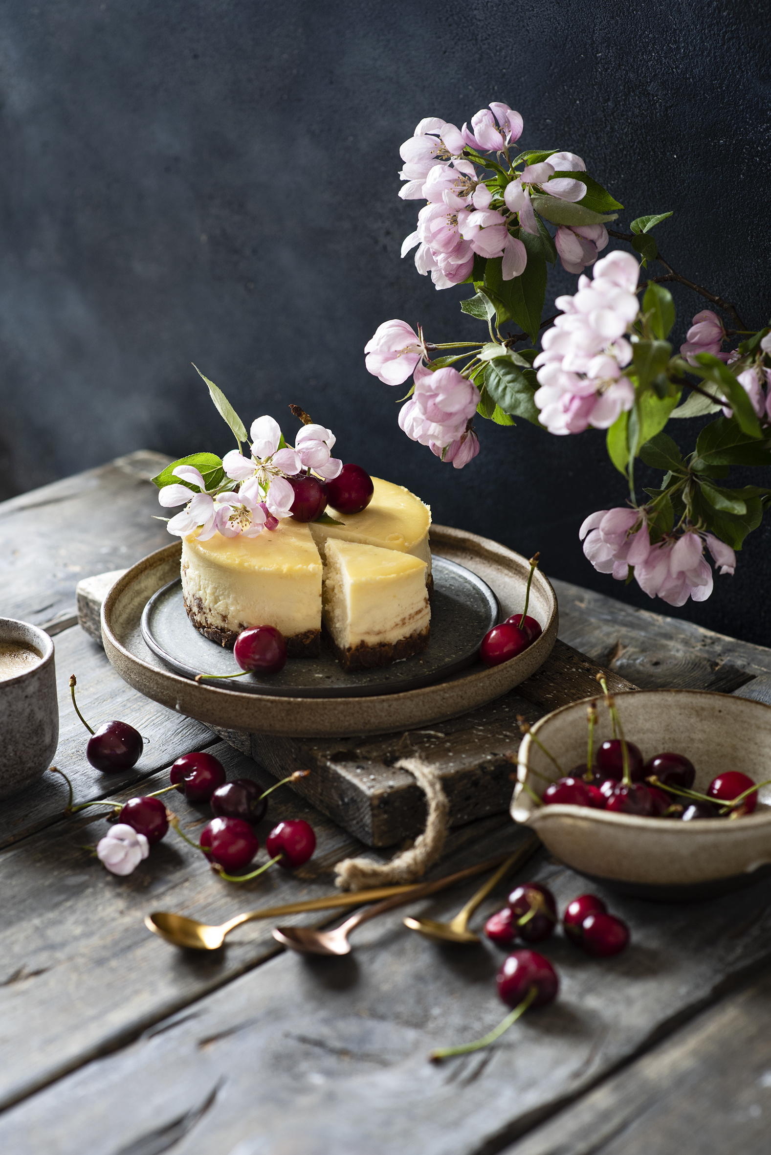 Photos Cheesecake Cherry Food Branches boards Flowering trees  for Mobile phone Wood planks
