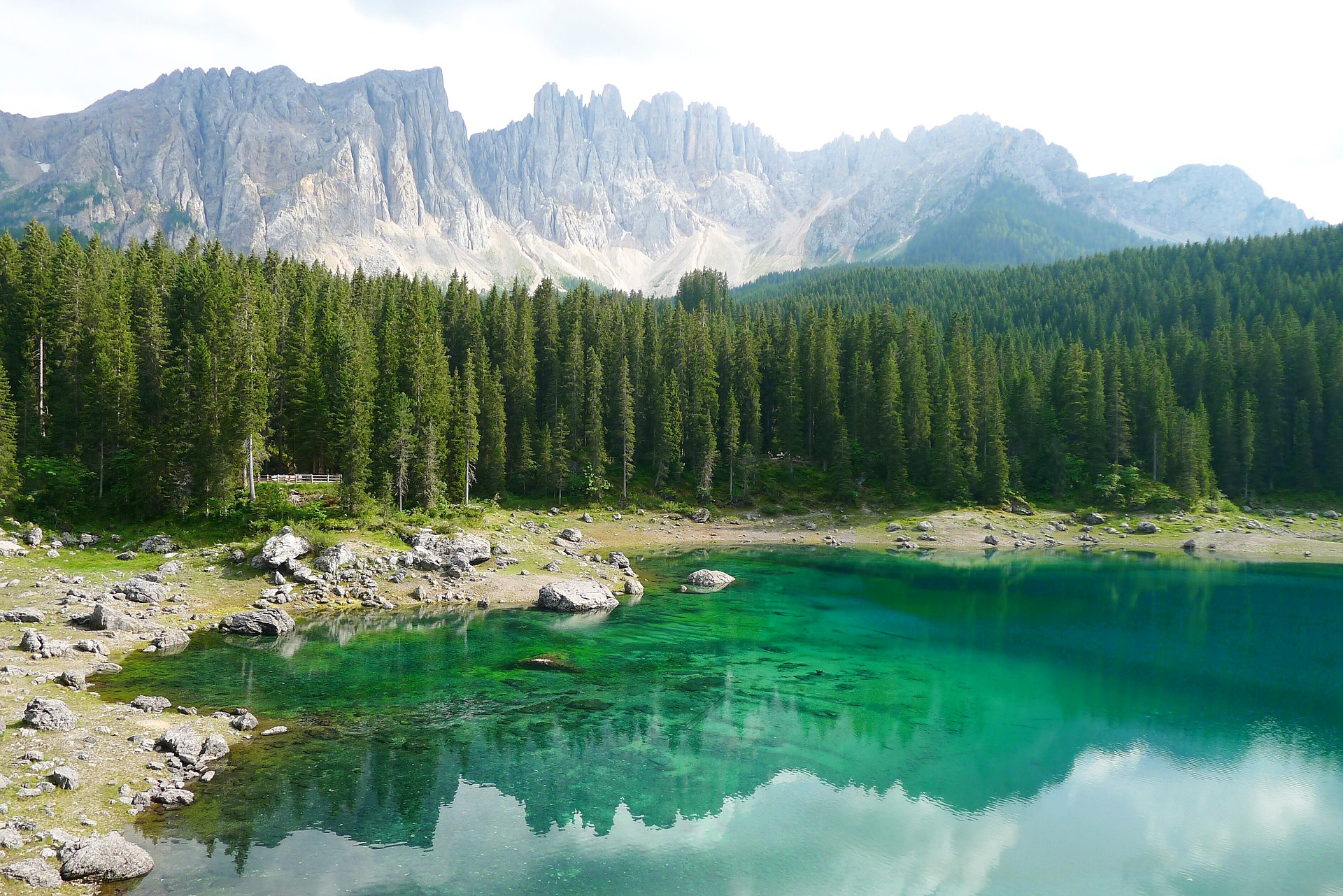 Wallpaper Italy Bergsee, South Tyrol Nature mountain Lake forest Stones 1920x1281 Mountains Forests stone