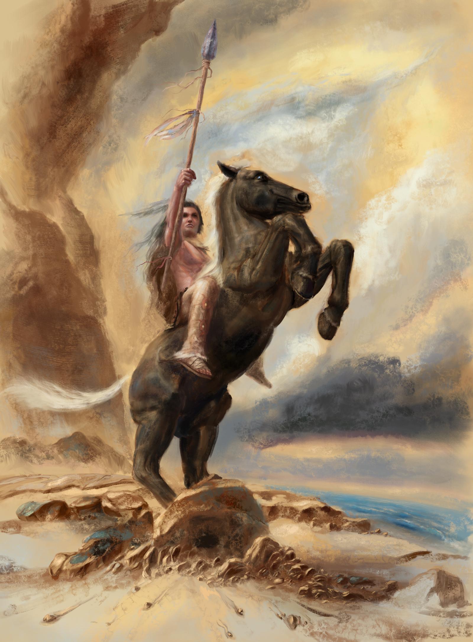 Foto Speer Hauspferd Krieger Fantasy  für Handy Pferd Pferde