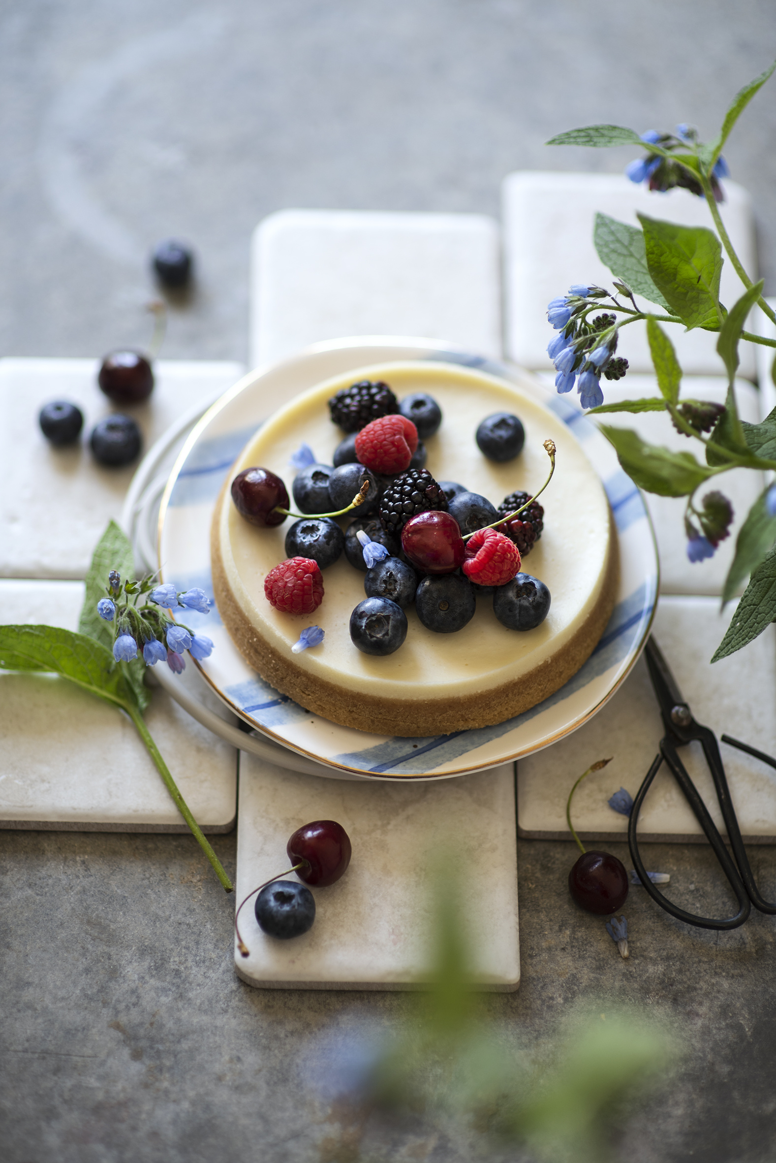 Photos Cakes Cherry Raspberry Blueberries Food Berry Plate  for Mobile phone Torte