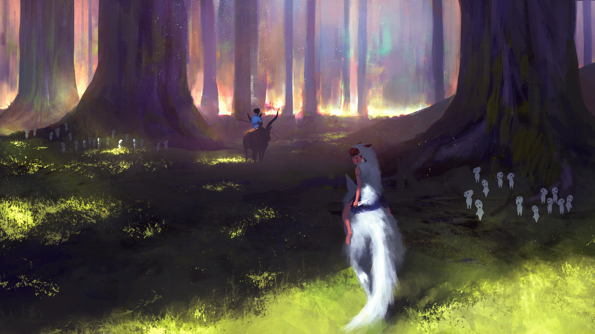 壁紙 1920x1080 もののけ姫 森林 アニメ ダウンロード 写真