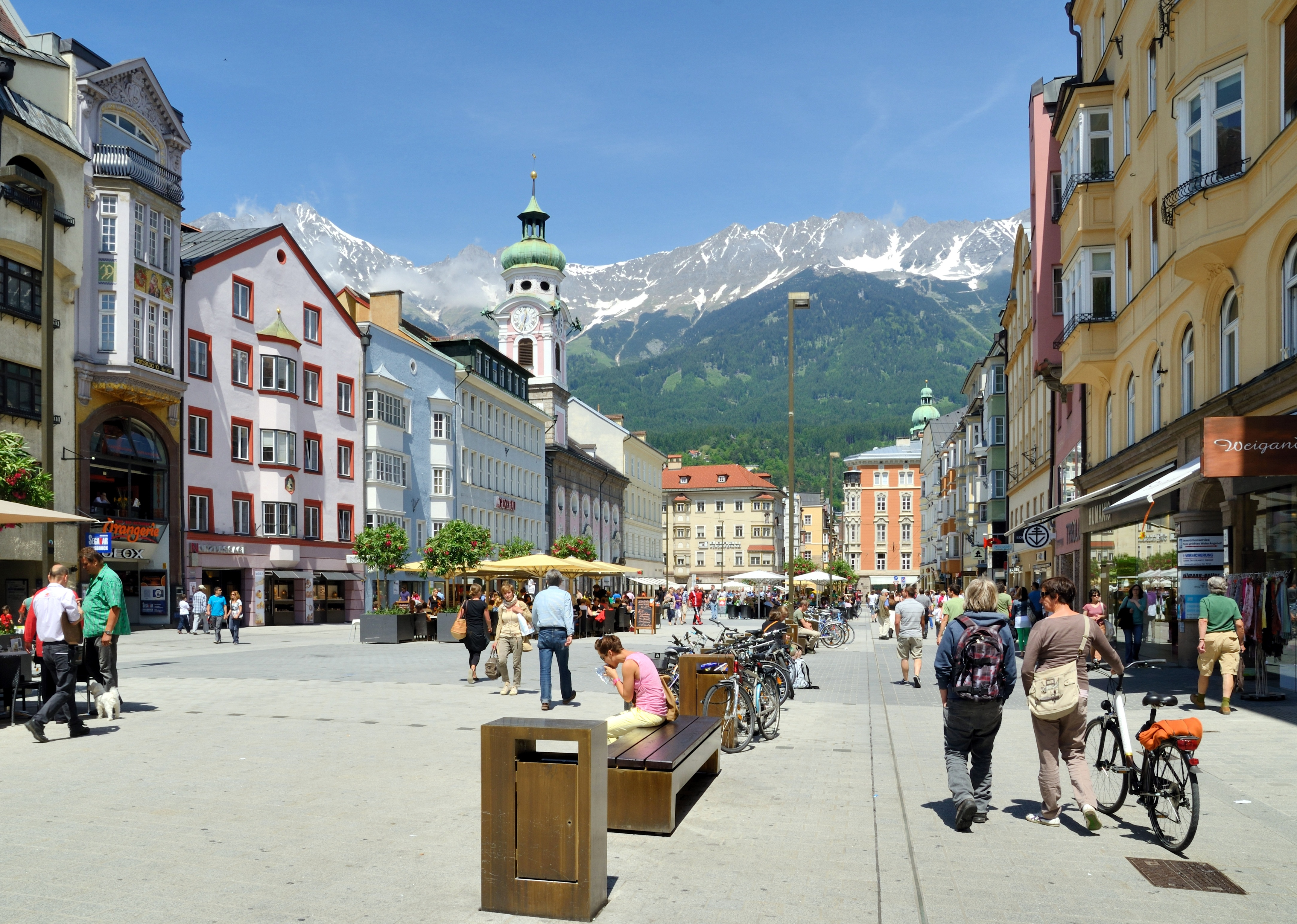 Images Austria Maria Theresa Street, Innsbruck Bicycle Street Bench Street lights Cities 4335x3090 bike bicycles