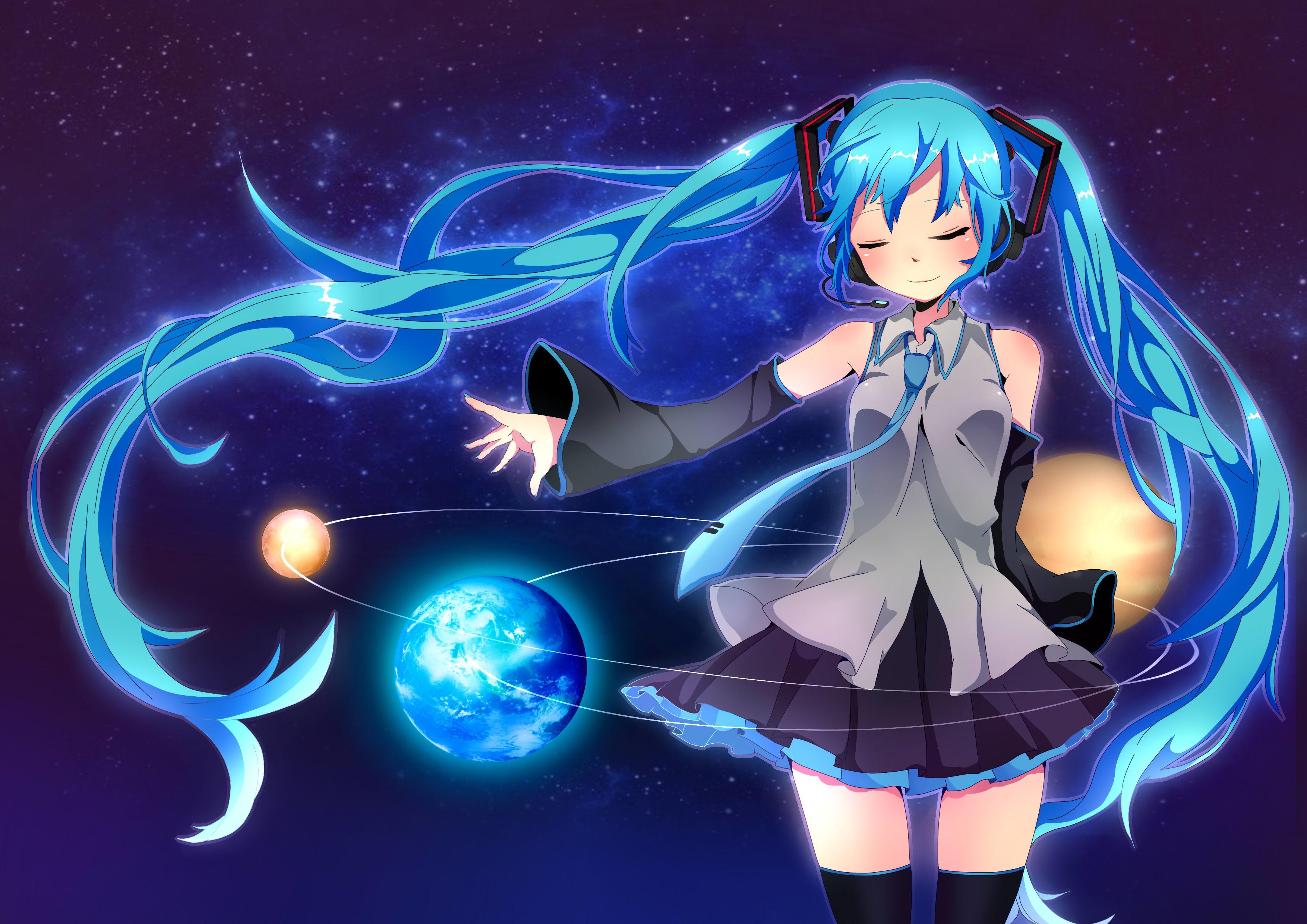 Fonds d'ecran 3507x2480 Vocaloid Hatsune Miku Planètes Écolière Jupe Uniforme Anime Filles ...