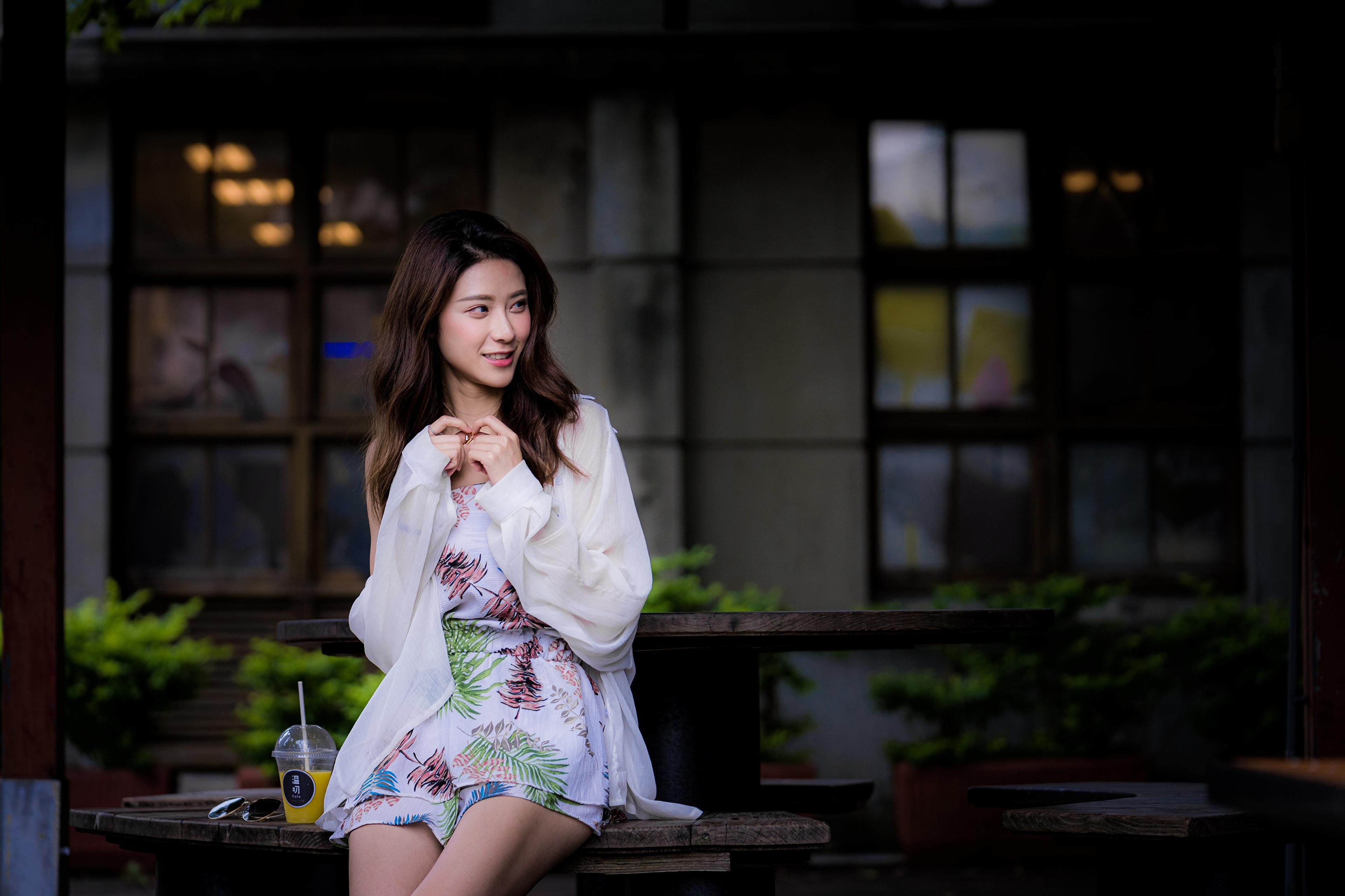 3840x2560,亚洲人,散景,棕色的女人,手,坐,年輕女性,女孩,
