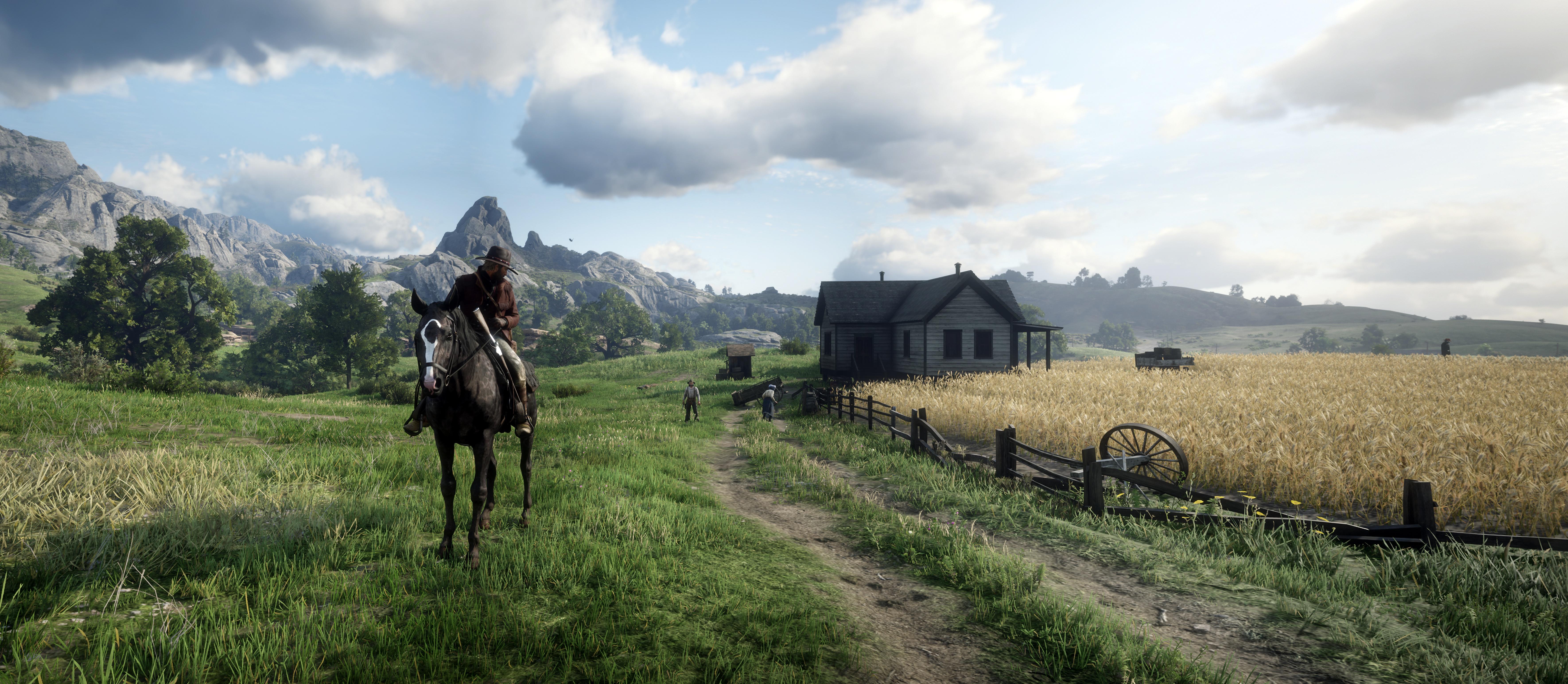 Image Red Dead Redemption 2 Horses Man Nature 3d Graphics 7079x3088