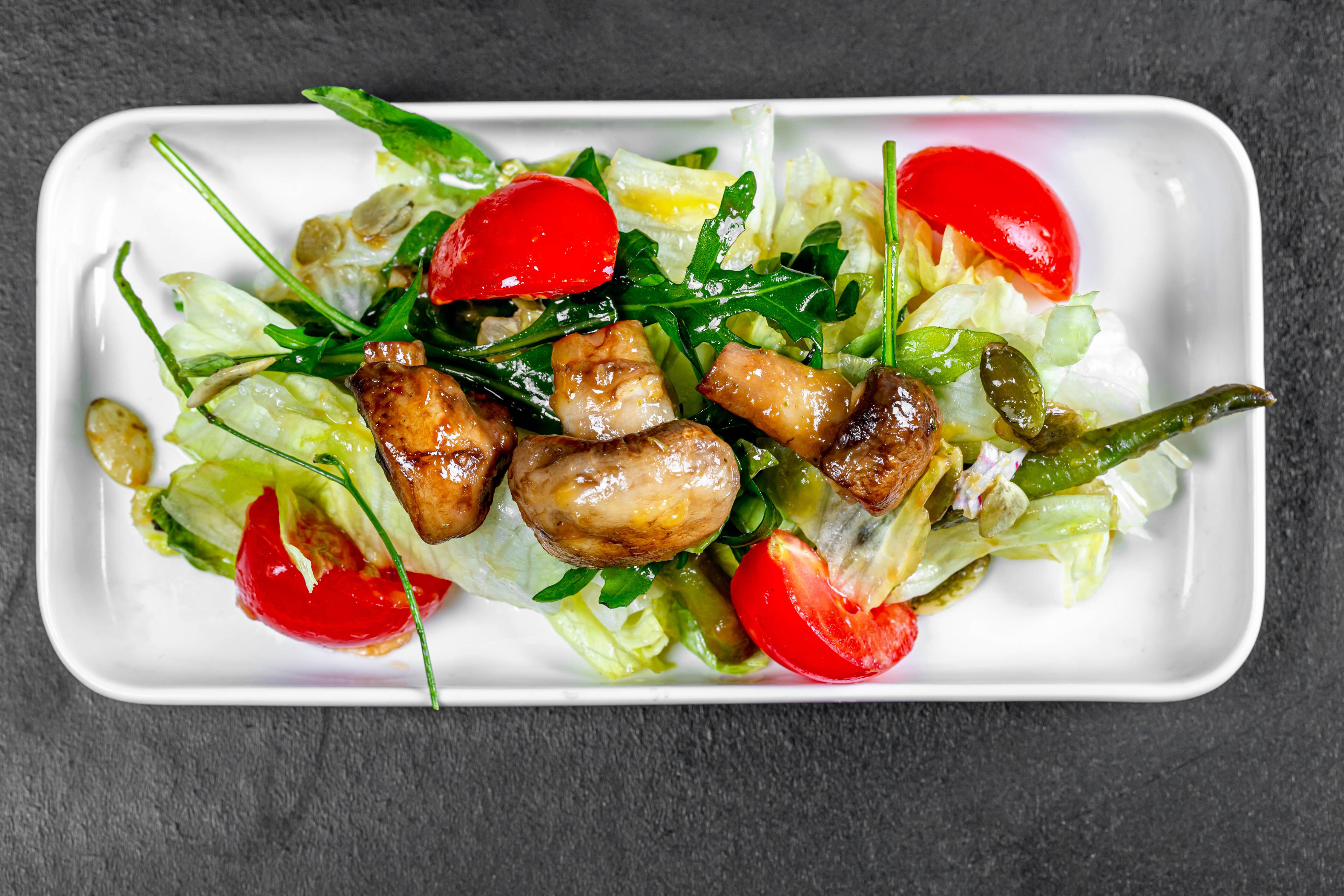 Photos Mushrooms Food Salads Vegetables