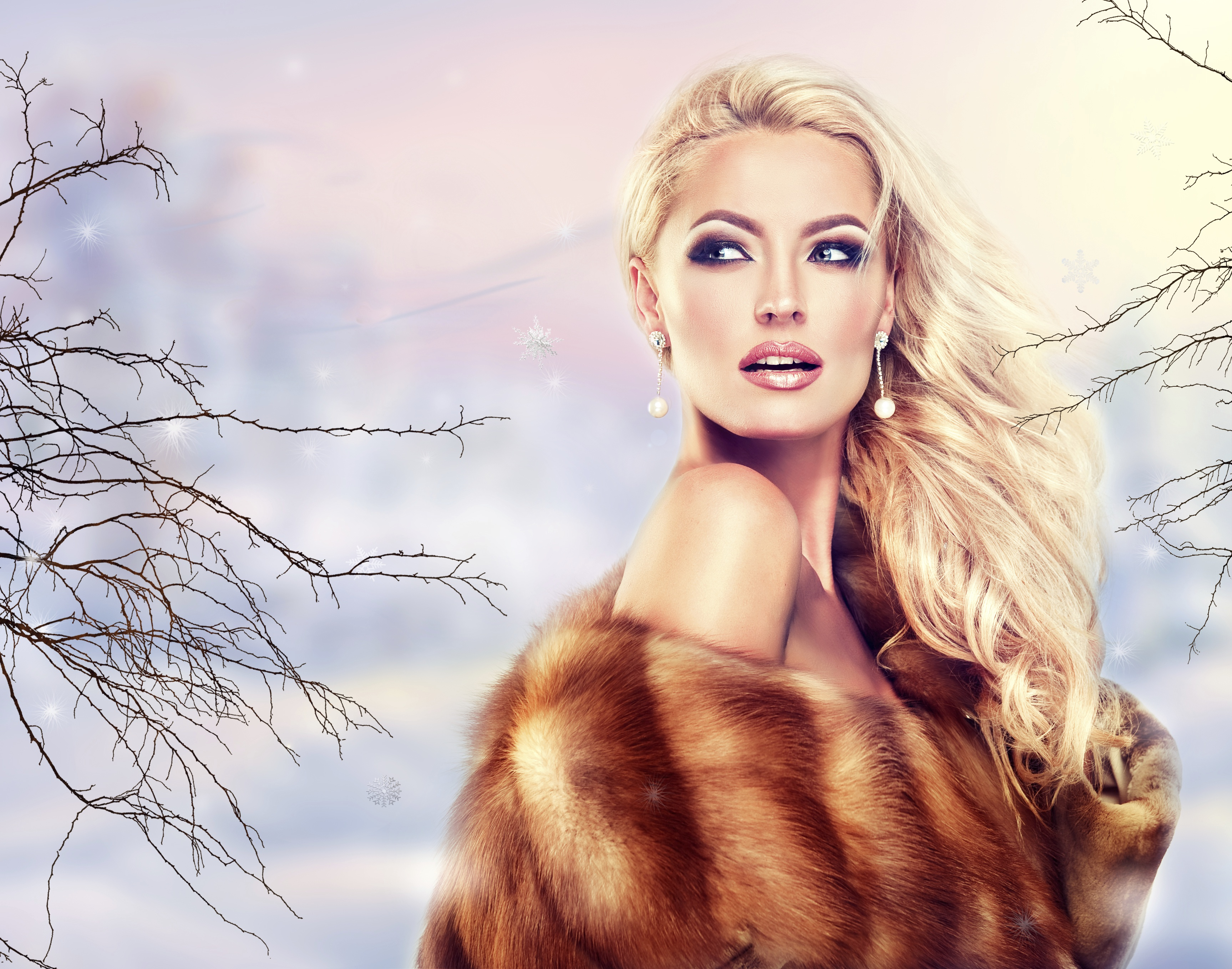 Picture Blonde girl Fur coat Makeup young woman Glamour Earrings Glance 3453x2716 Girls female Staring
