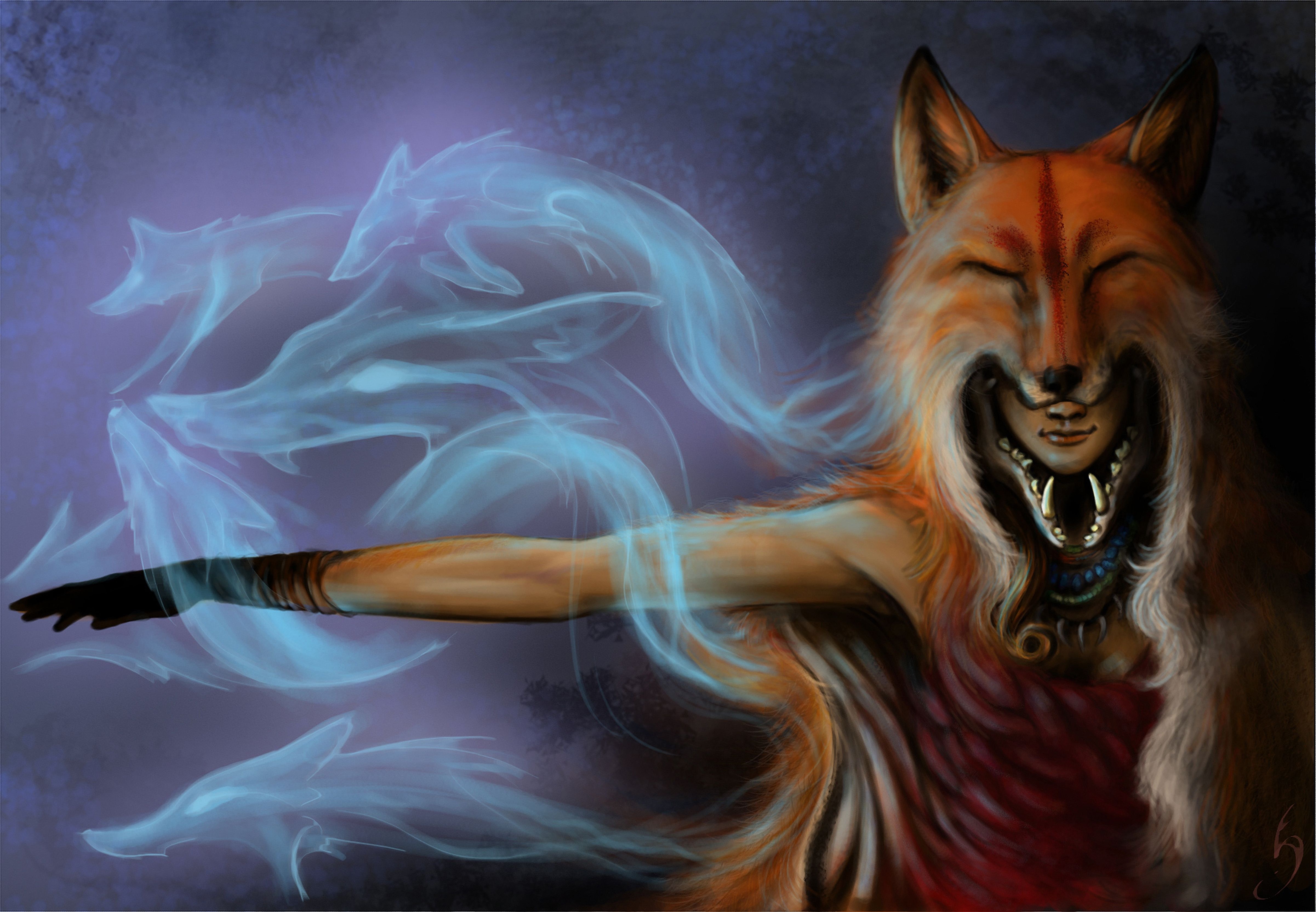 Images Foxes Sorcery Fantasy 4803x3330