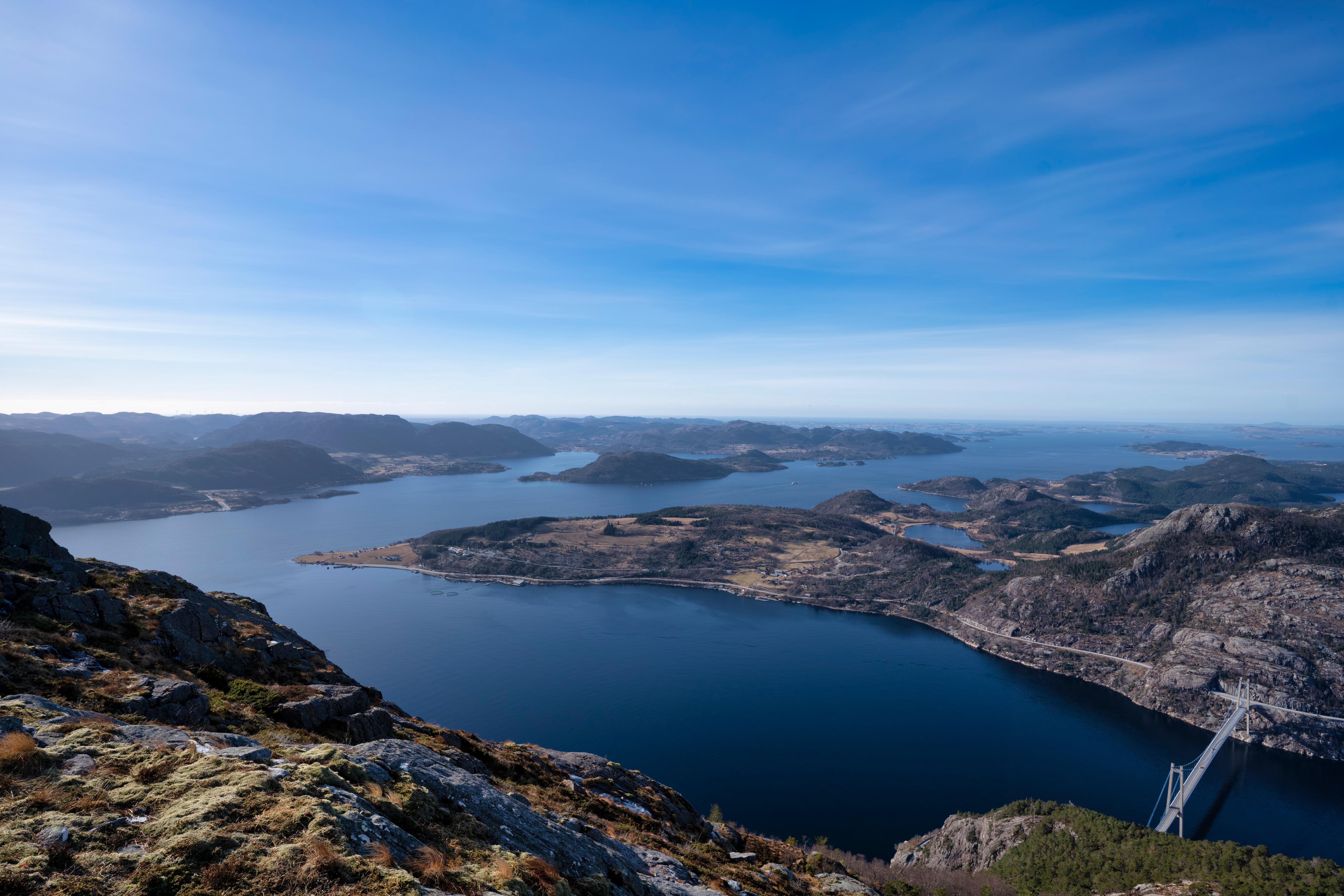 Fotos Norwegen Rogaland Fjord Natur Gebirge Himmel Von oben Berg
