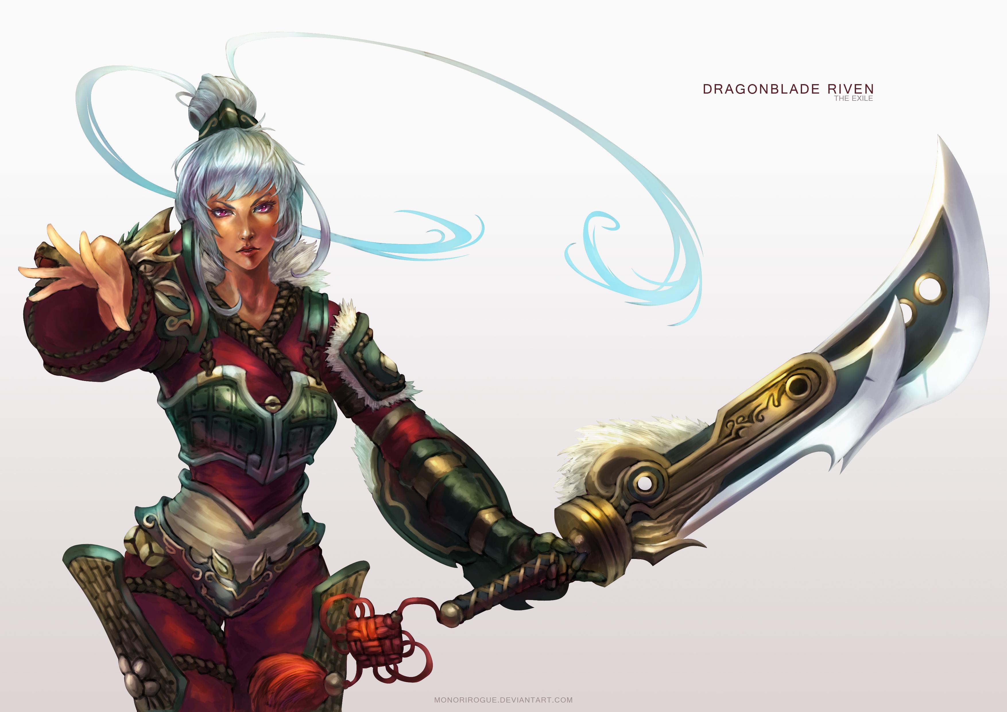 壁紙 リーグ オブ レジェンズ ウォリアーズ Riven Exile Dragon Blade 剣 ゲーム ファンタジー 少女 ダウンロード 写真