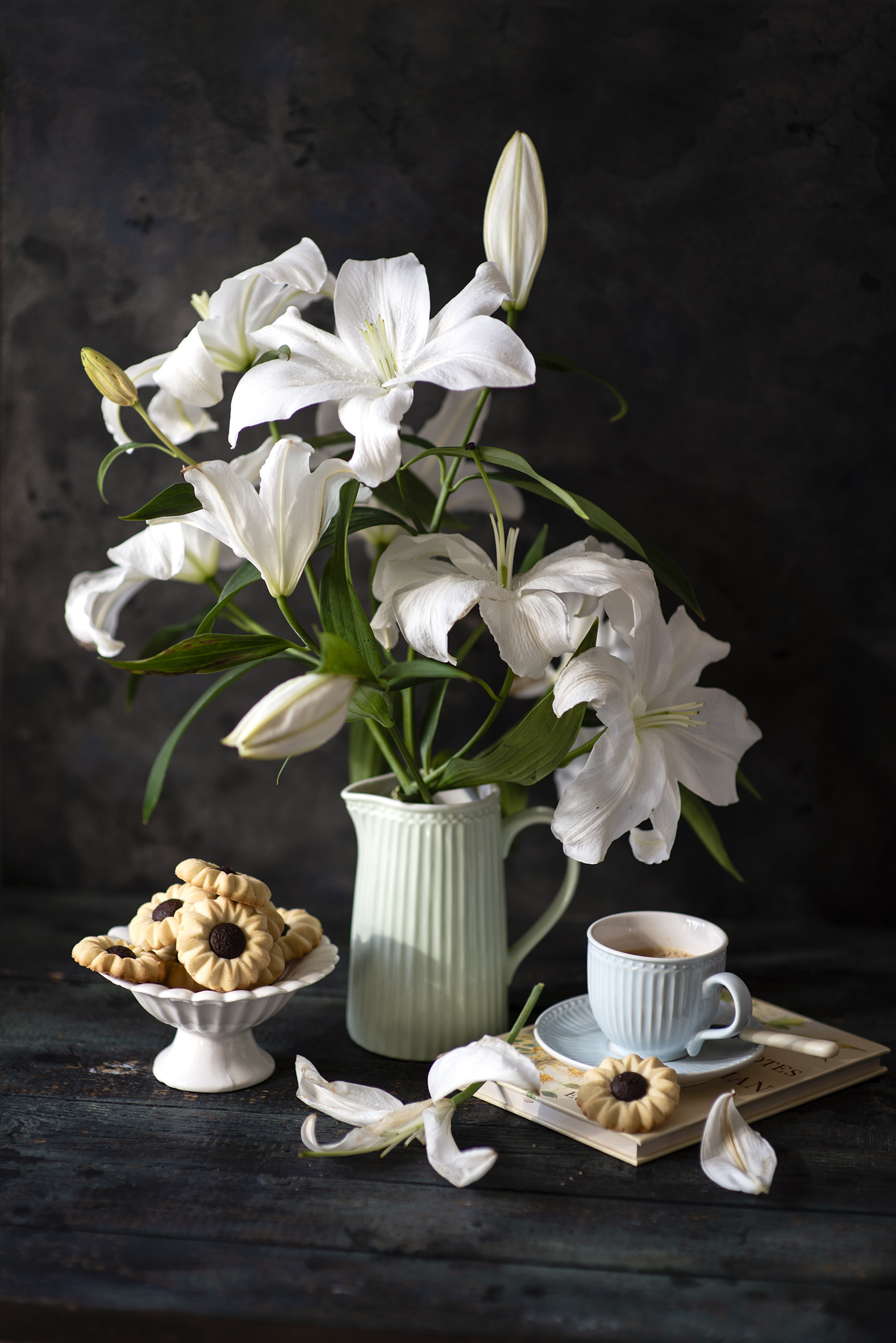 Photos White Lilies Coffee Petals Flowers Cup Vase Food Cookies Still-life Wood planks  for Mobile phone lilium flower boards