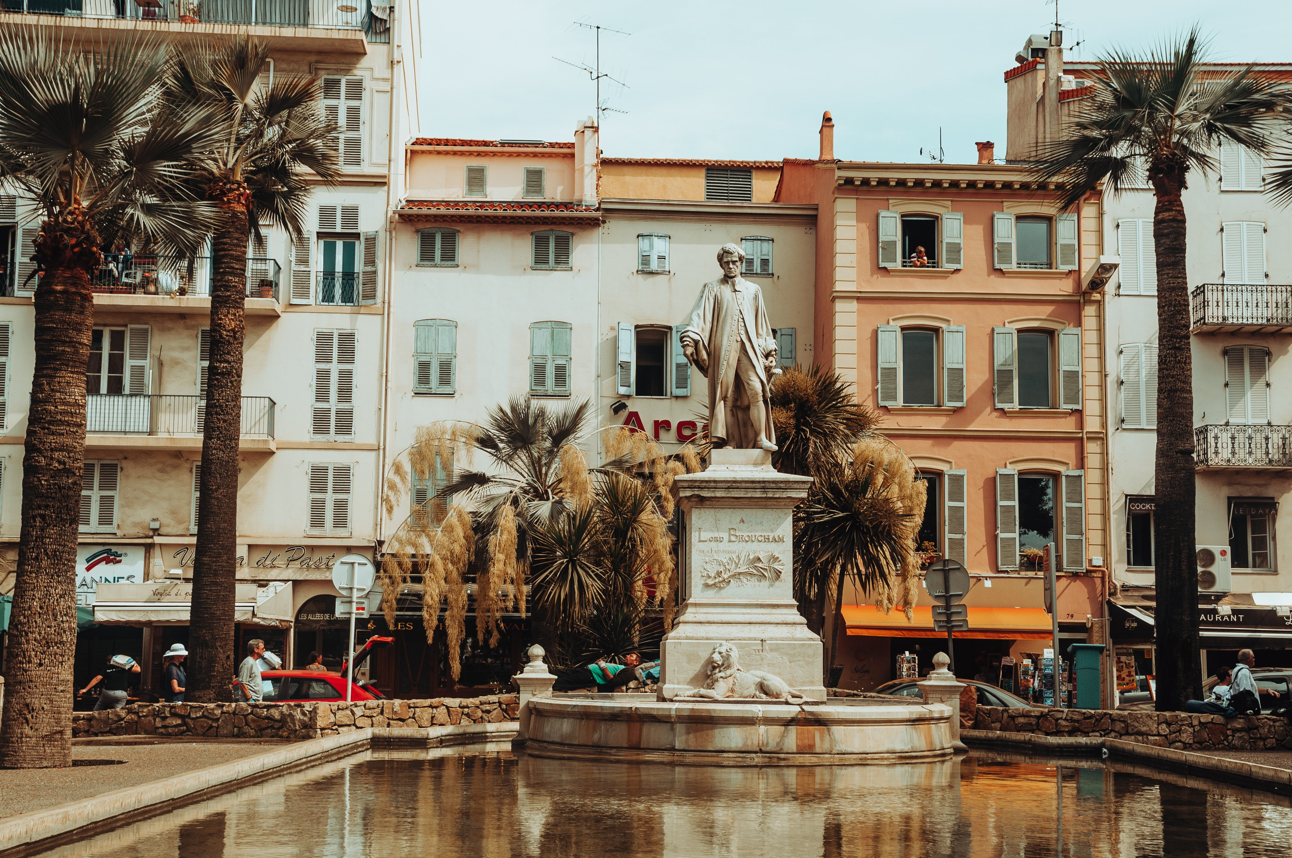 Desktop Wallpapers France Monuments Cannes, Lord Brougham Pond Palms Cities palm trees
