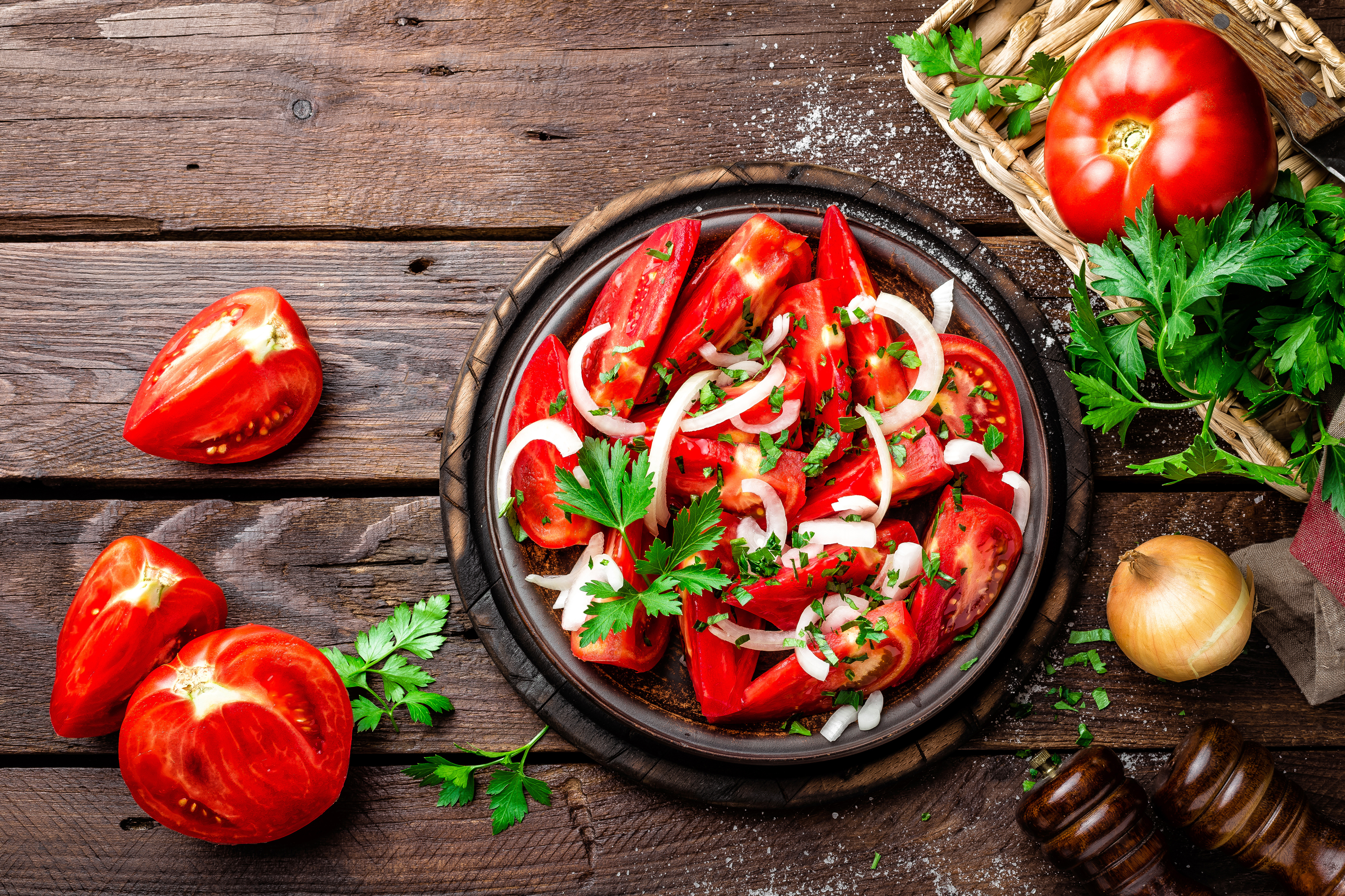 Images Tomatoes Food Salads Vegetables Wood planks 4200x2800 boards
