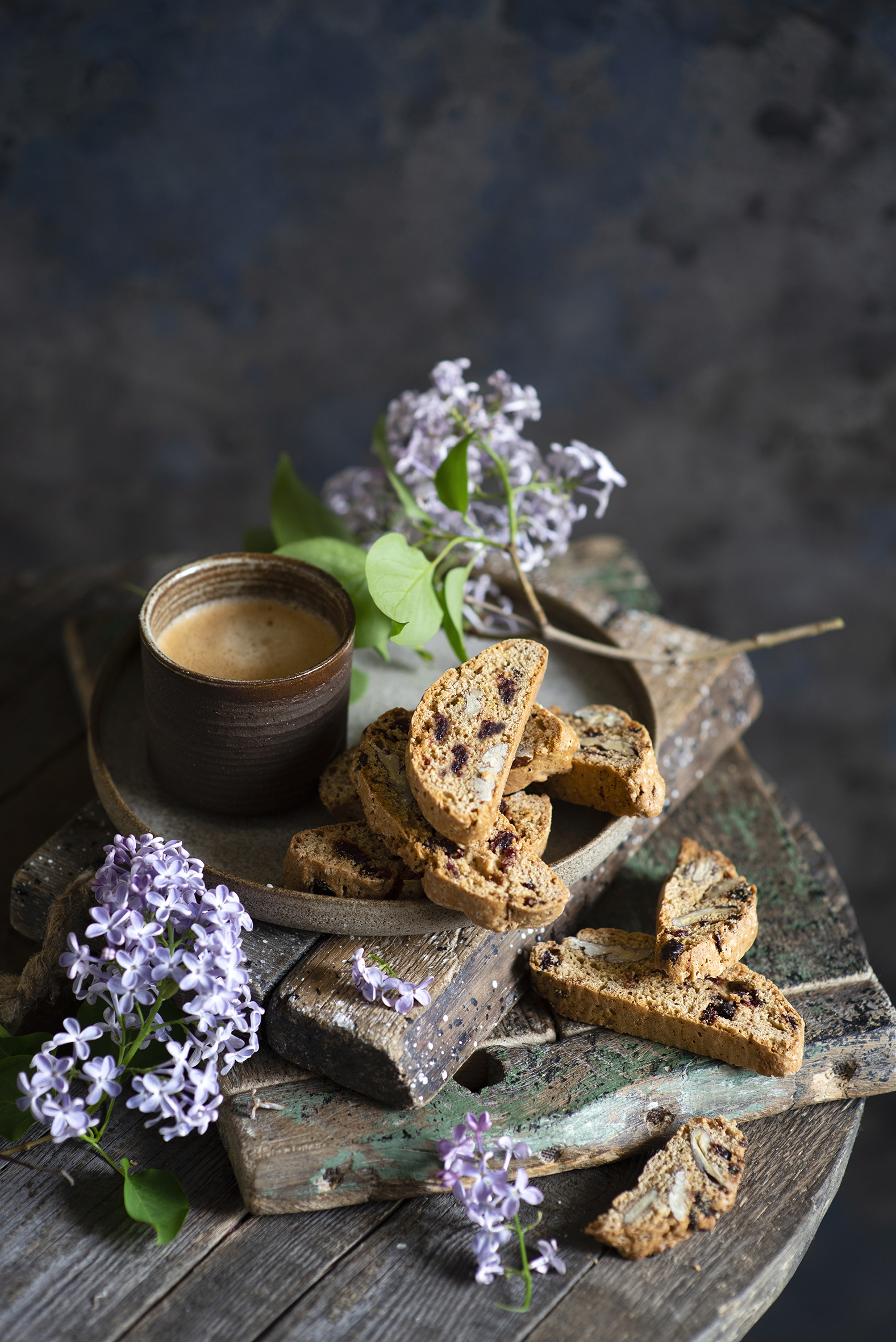 Images Coffee Cappuccino Lilac Mug Food Branches Pastry boards  for Mobile phone Syringa baking Wood planks