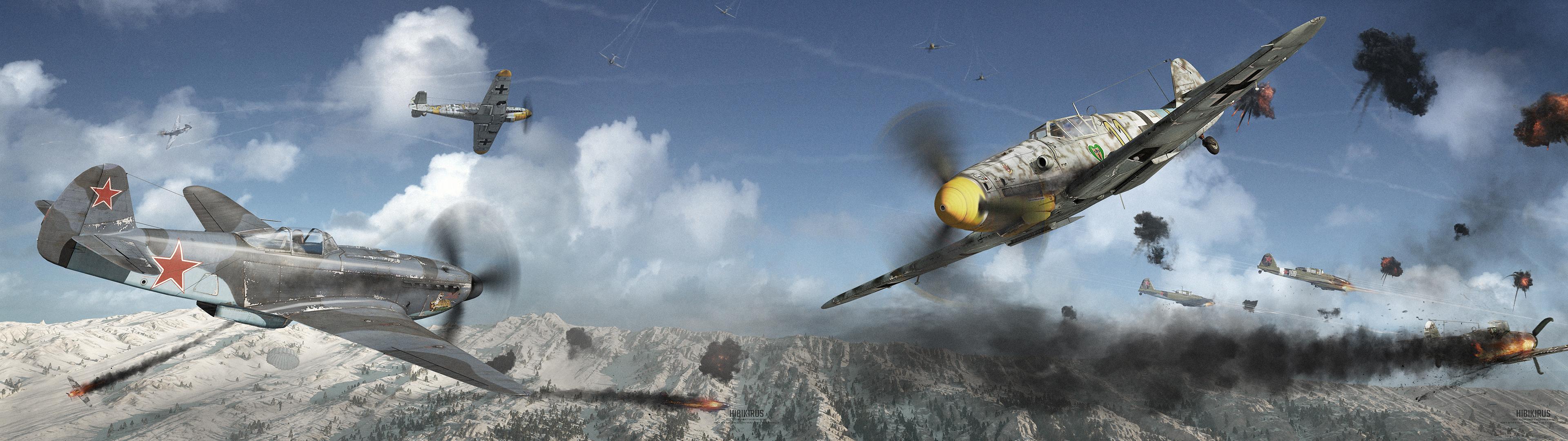 壁紙 3840x1080 描かれた壁紙 戦闘機 Yak 9u Vs Bf 109g 6 ロシアの ドイツ語 航空 3dグラフィックス ダウンロード 写真