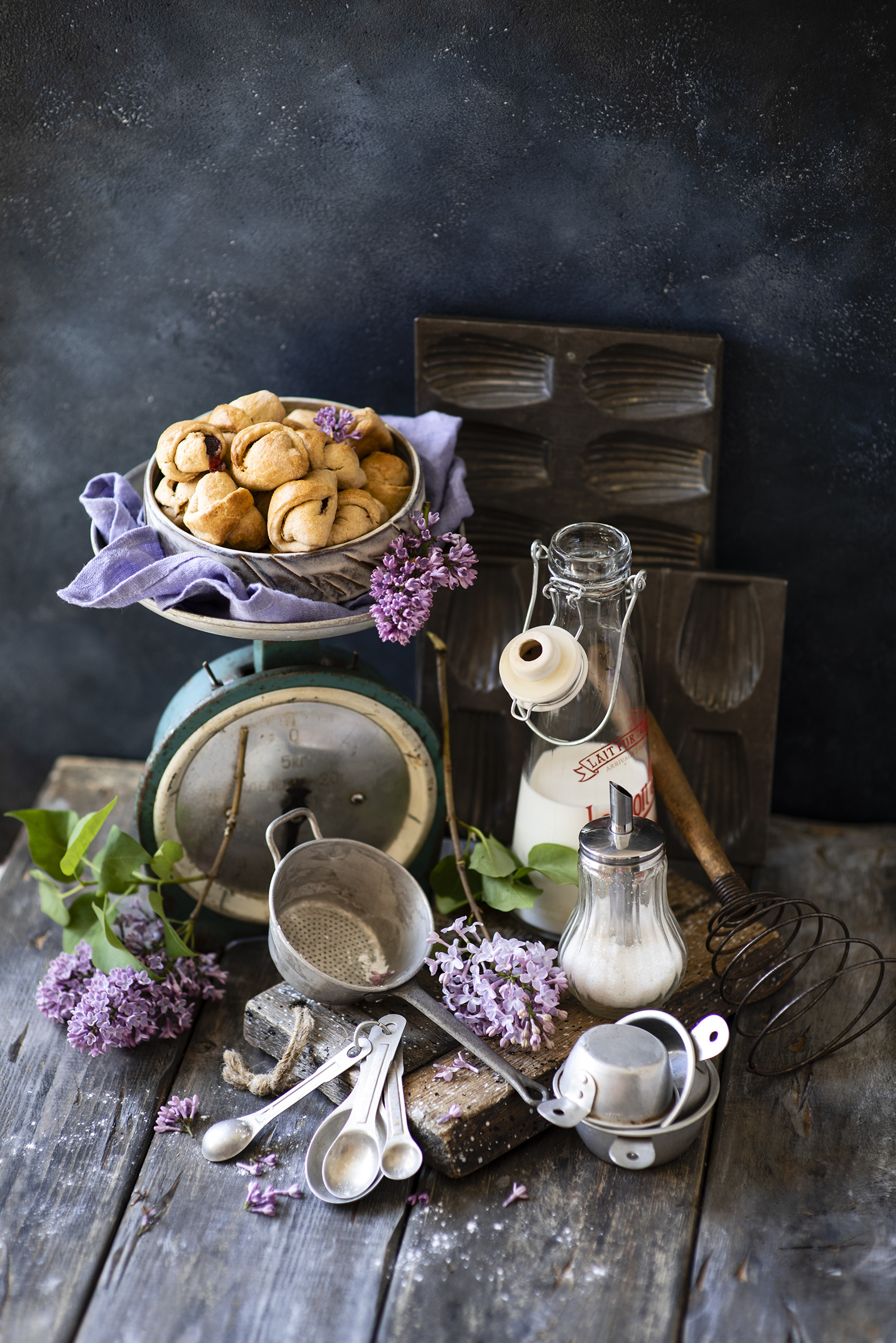 Pictures Milk Lilac Flowers Food Spoon Bottle Branches Pastry Still-life boards  for Mobile phone flower Syringa bottles baking Wood planks