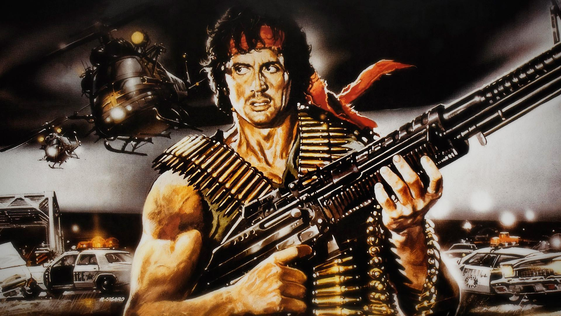 Pictures Rambo Sylvester Stallone Machine guns Movies