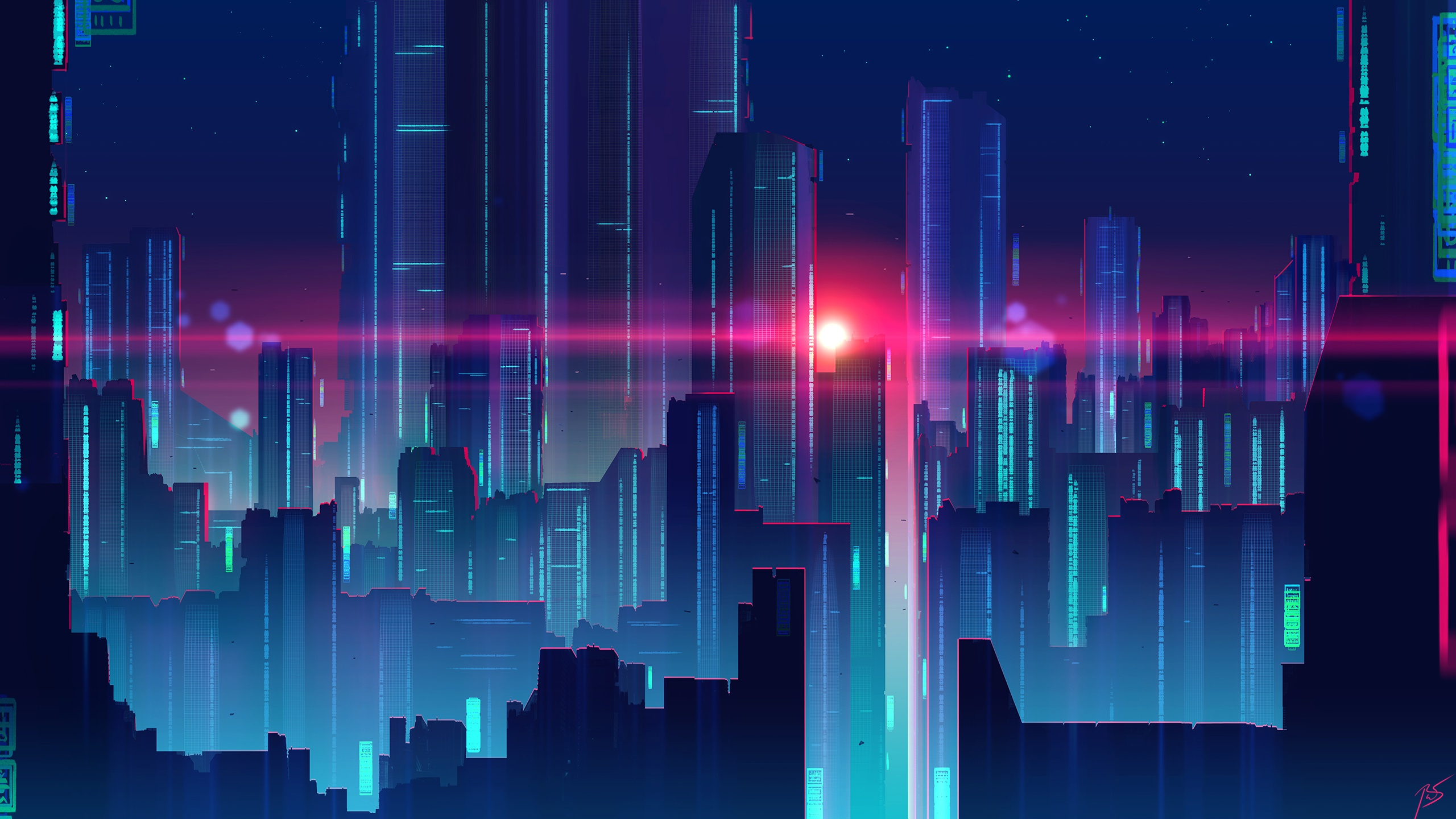 Wallpaper Synthwave By Joey Jazz Skyscrapers Houses Cities 2560x1440