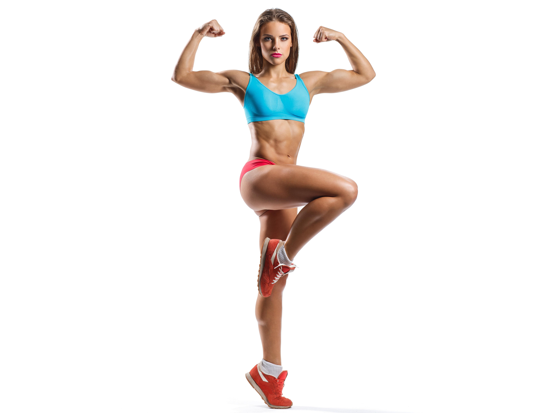 Fotos von posiert Fitness Sport junge frau Bein Hand Blick Weißer hintergrund 6000x4528 Pose Mädchens sportliches junge Frauen Starren